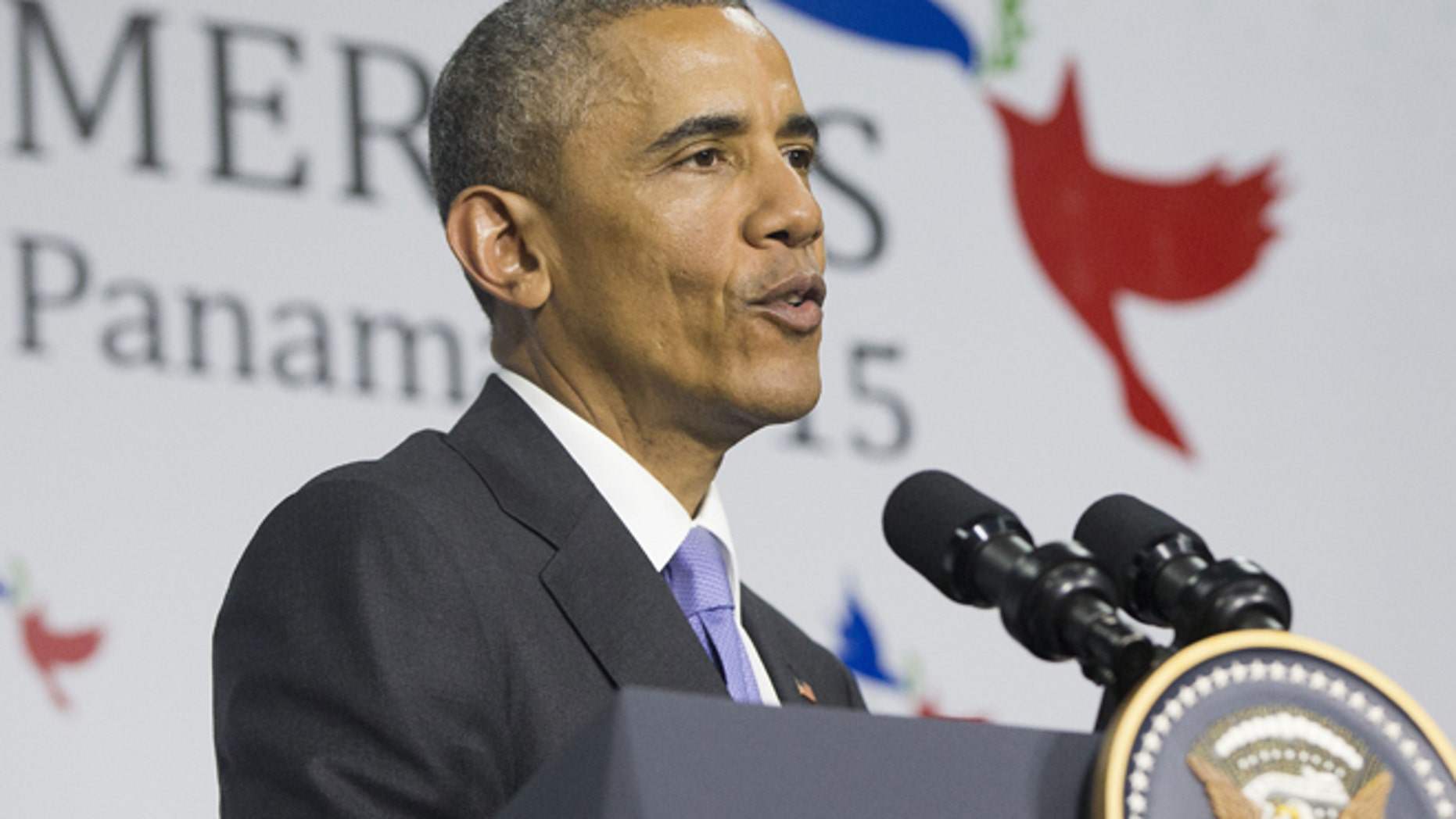 Apr. 11, 2015: President Obama speaks during his news conference at the Summit of the Americas in Panama City. (AP)