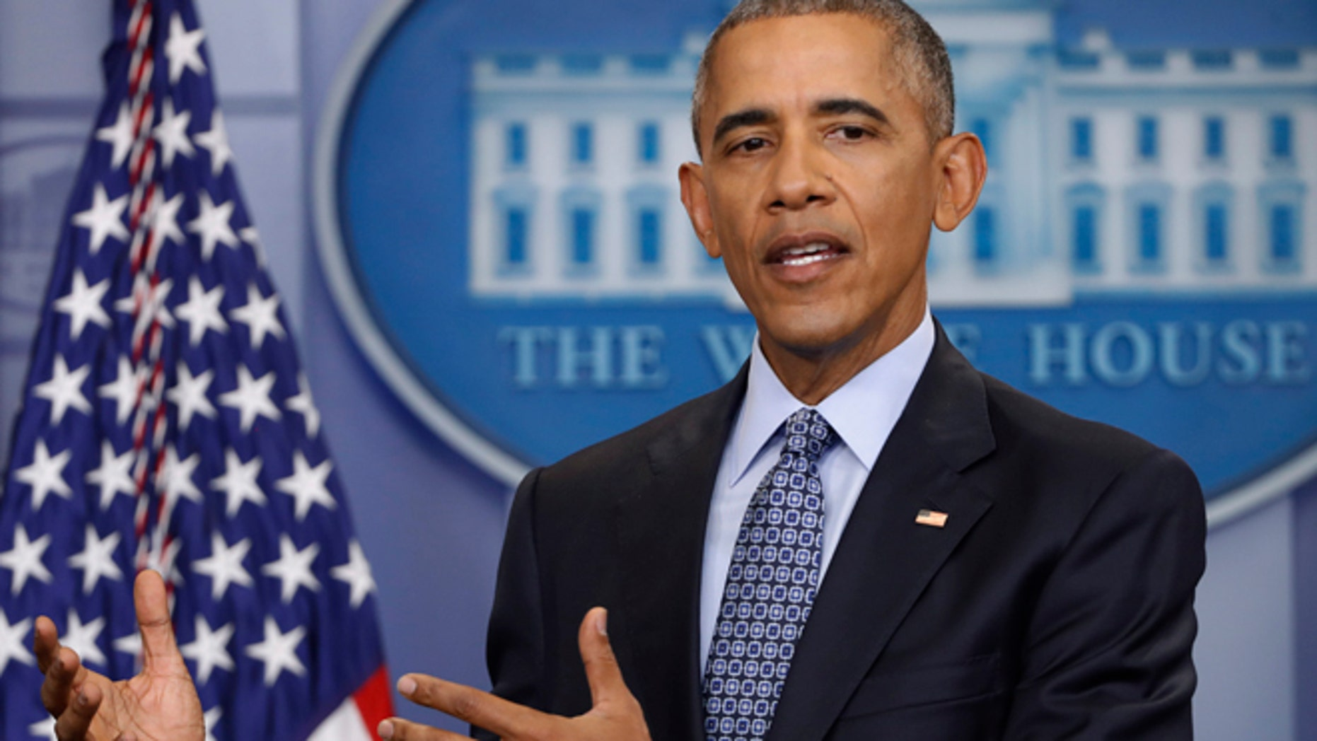 FILE - In this Jan. 18, 2017 file photo, President Barack Obama speaks during his final presidential news conference in the briefing room of the White House in Washington.