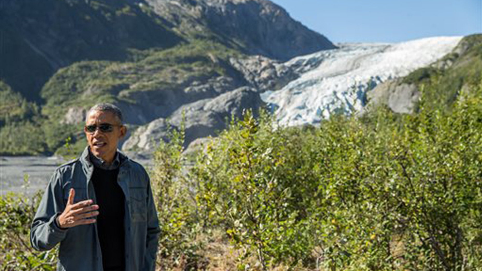 Sept. 1, 2015: President Barack Obama speaks to members of the media while on a hike to the Exit Glacier in Seward, Alaska, which according to National Park Service research, has retreated approximately 1.25 miles over the past 200 years.