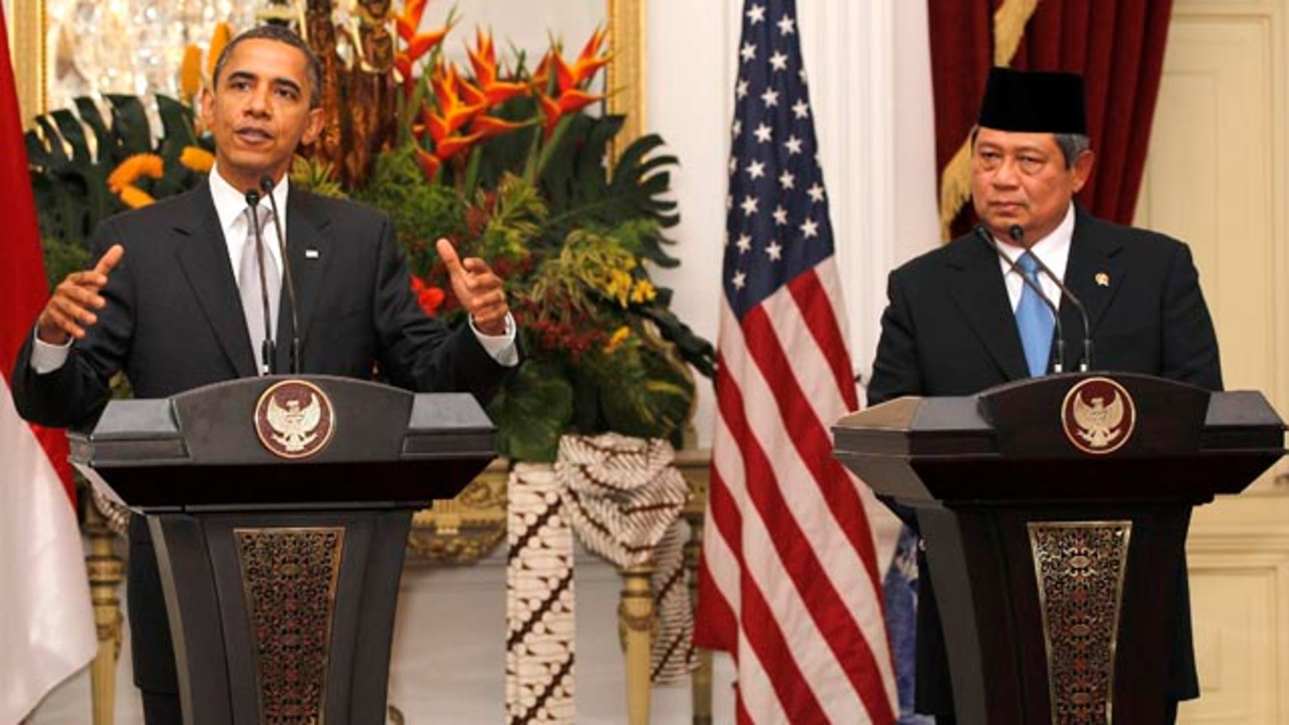Nov. 9: Obama speaks in a news conference accompanied by his Indonesian counterpart Susilo Bambang Yudhoyono at the Merdeka palace in Jakarta, Indonesia. Obama is leaving Indonesia two hours earlier than scheduled.