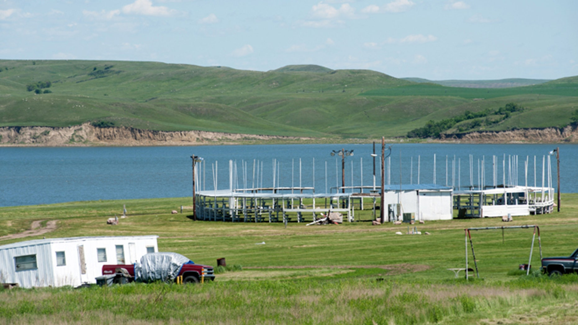 June 9, 2014: In this photo is the tribal pow wow grounds where President Barack Obama will join a tribal ceremony on the Standing Rock Sioux Reservation on Friday in Cannon Ball, N.D. (AP)