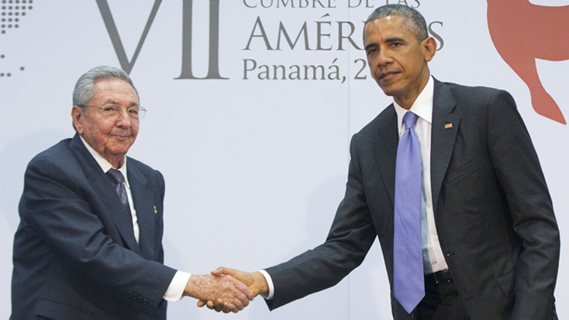 Apr. 11, 2015: US President Barack Obama and Cuban President Raul Castro shake hands during their meeting at the Summit of the Americas in Panama City, Panama. (AP)