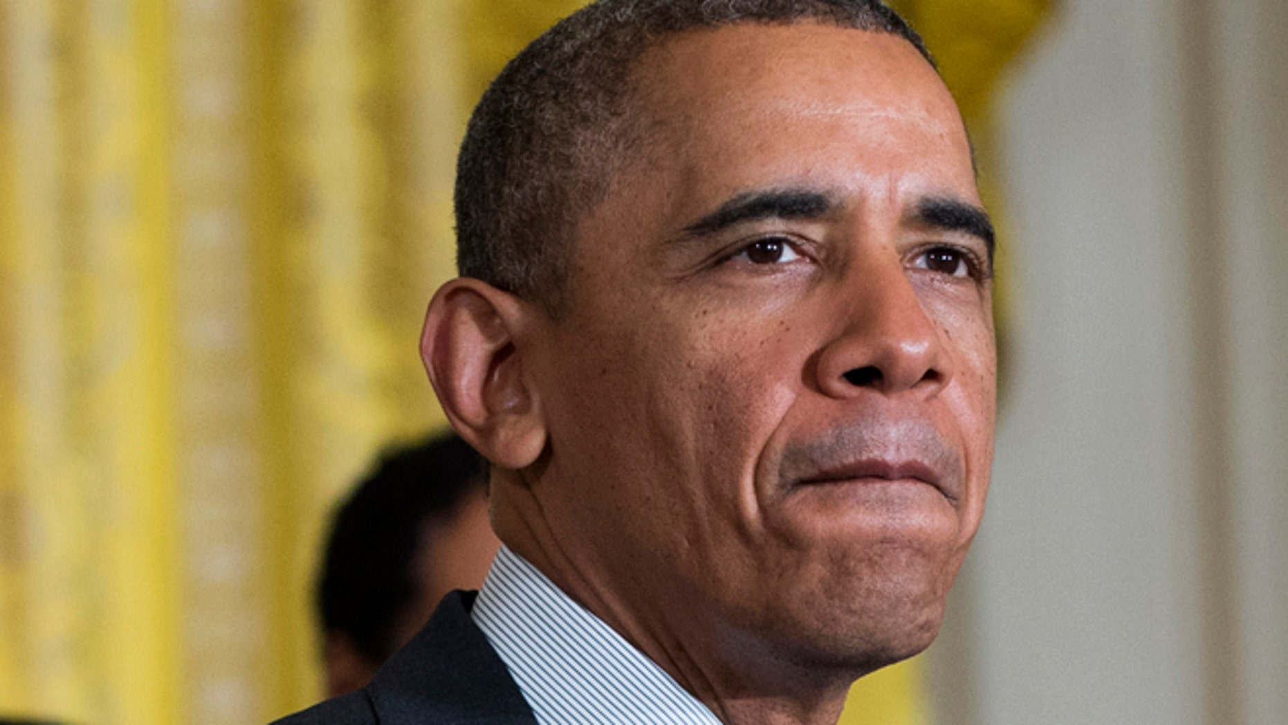 Apr. 30, 2014: President Barack Obama pauses as he speaks in the East Room of the White House in Washington. (AP)