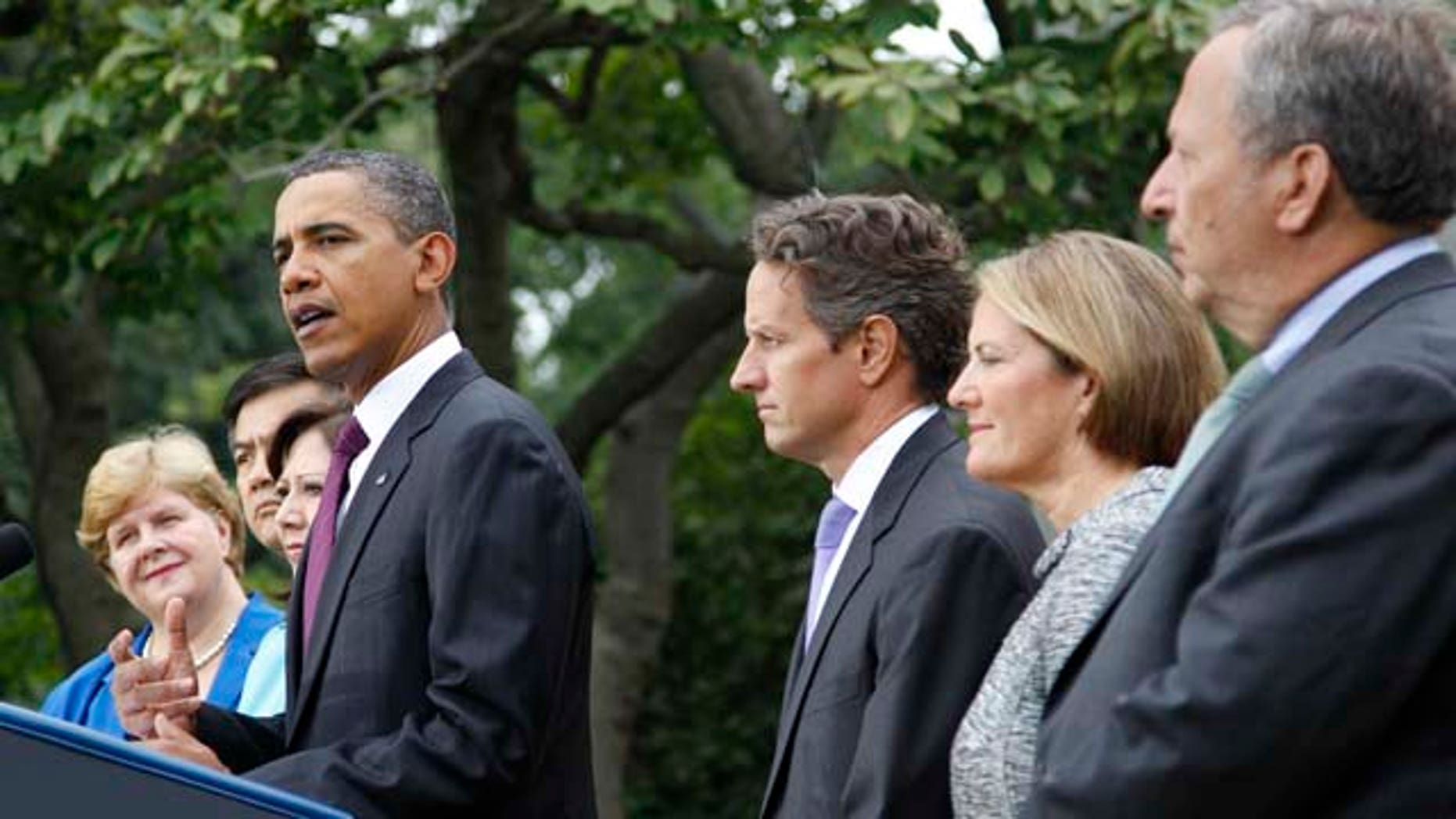 Sept. 3: President Barack Obama, center, delivers a statement on monthly jobs number in Rose Garden of the White House in Washington. From left are, outgoing Council of Economic Advisers Chair Christina Romer, Commerce Secretary Gary Locke, Labor Secretary Hilda Solis, the president, Treasury Secretary  Timothy Geithner, Small Business Administrator Karen G. Mills and National Economic Council Director Lawrence Summers.