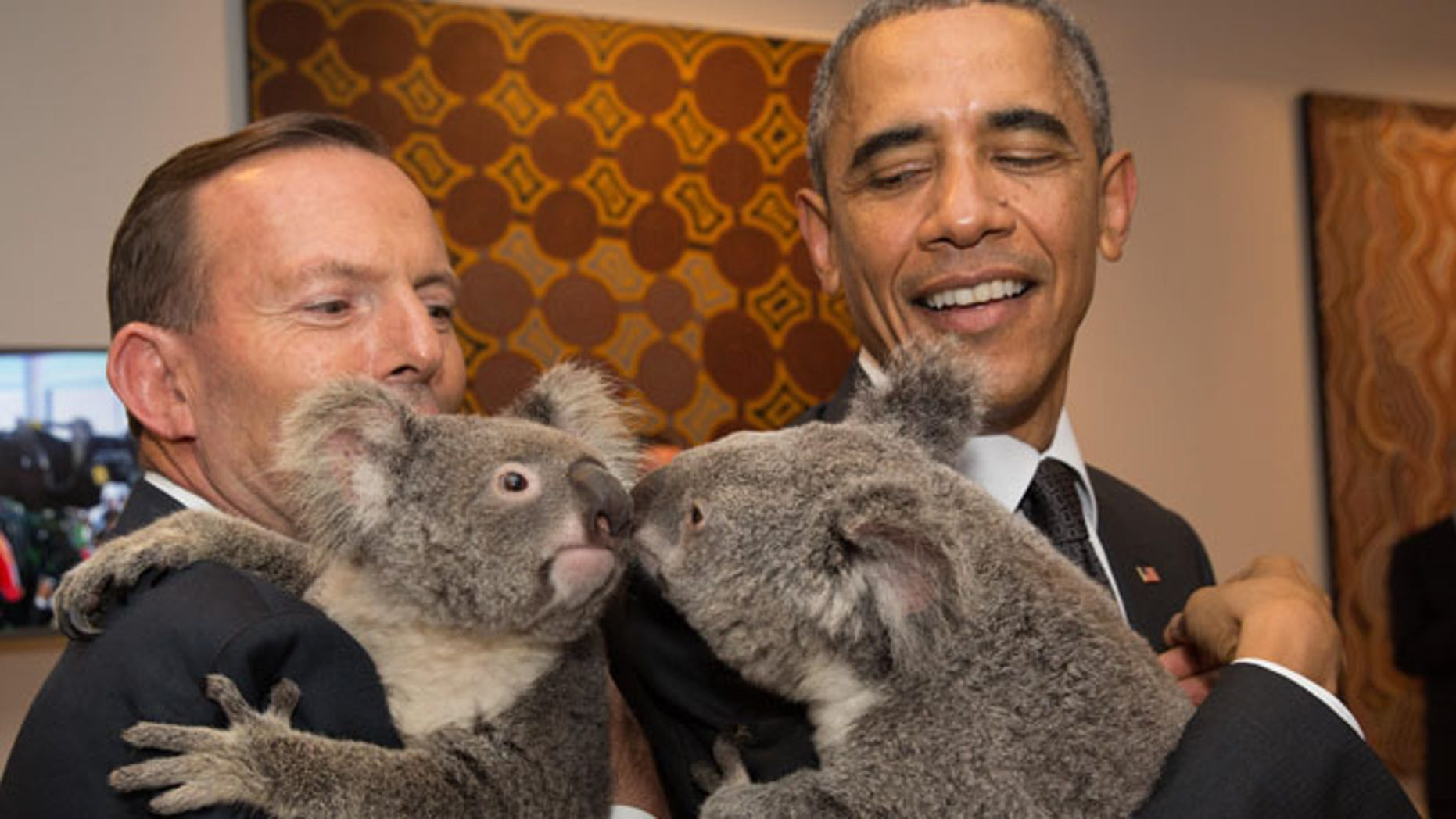 Nov. 15, 2014: U.S. President Barack Obama, right,  and Australia's Prime Minister Tony Abbott hold koalas during a photo opportunity on the sidelines of the G-20 summit in Brisbane, Australia.  (AP)