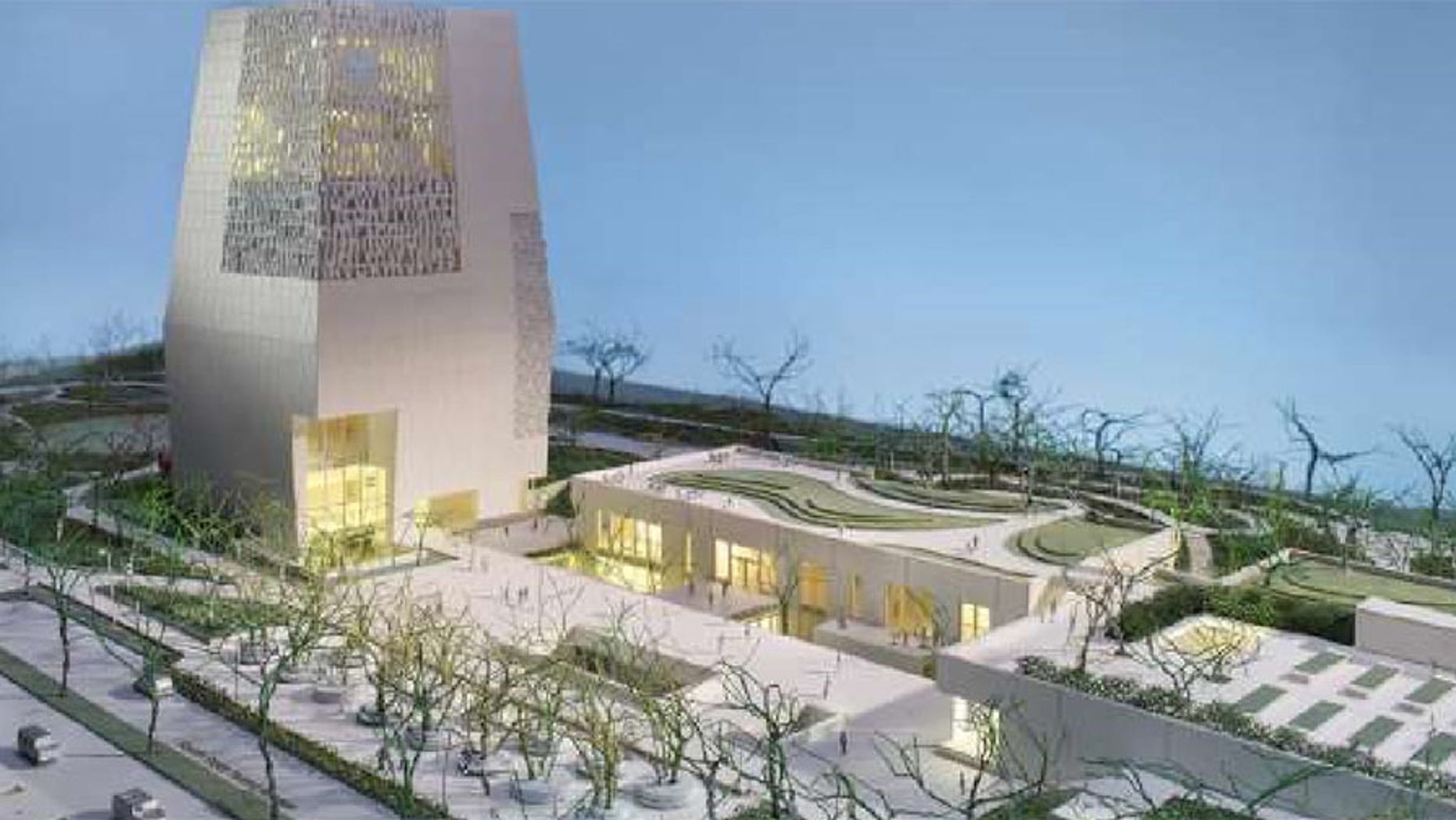 An impression of the Obama Presidential Center's main buildings.