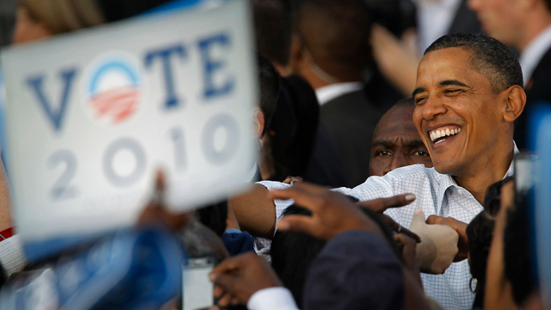 Oct. 10:  President Barack Obama meets with members of the audience during a rally in Philadelphia.