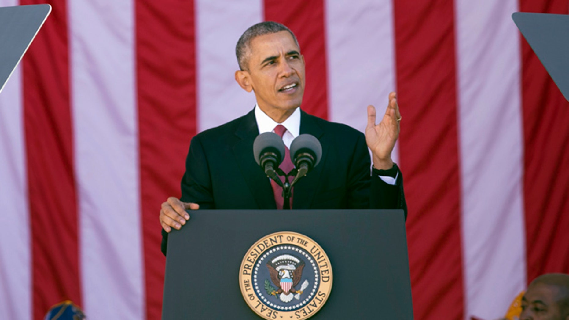 Nov. 11, 2015: President Obama speaks during the annual National Veterans Day commemoration at Arlington National Cemetery in Arlington, Va. (AP)