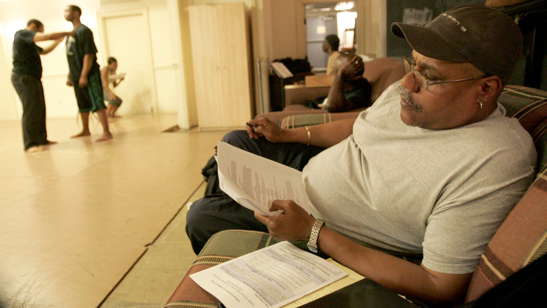 May 3, 2008:  Actor Bill Nunn, right, attends a Point Park University rehearsal for his experimental project, dramatizing an African folktale, in Pittsburgh.