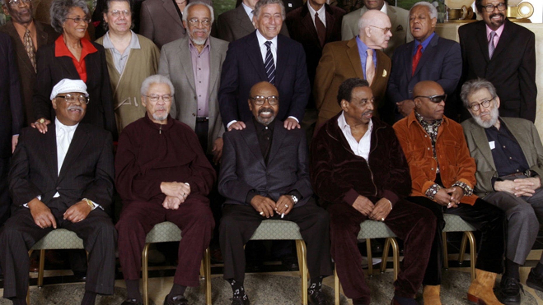 Columnist Nat Hentoff (foreground right) died at age 91. Here he poses with a group of jazz legends in 2006.