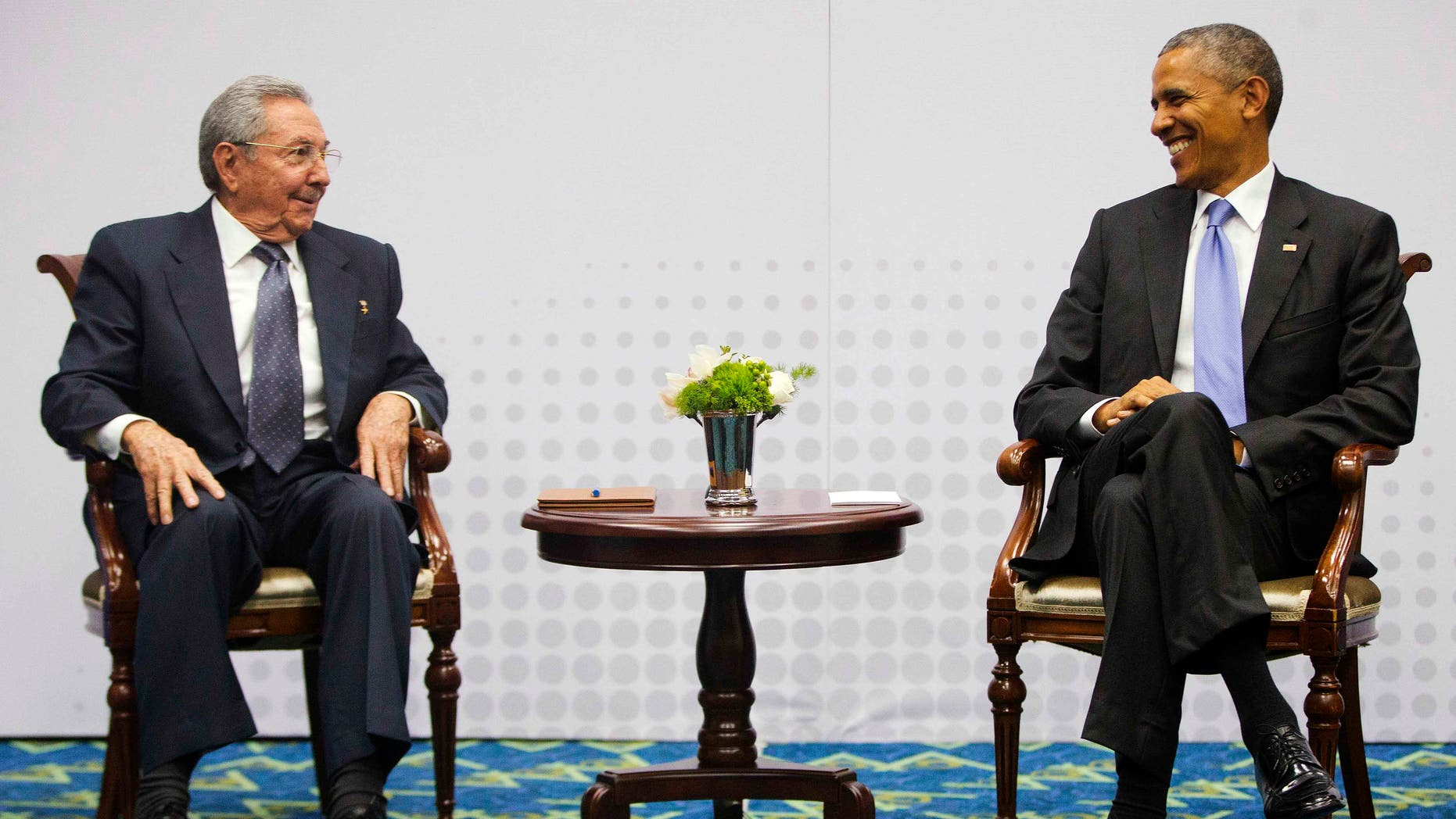 Presidents Raul Castro and Barack Obama at the Summit of the Americas on April 11, 2015.
