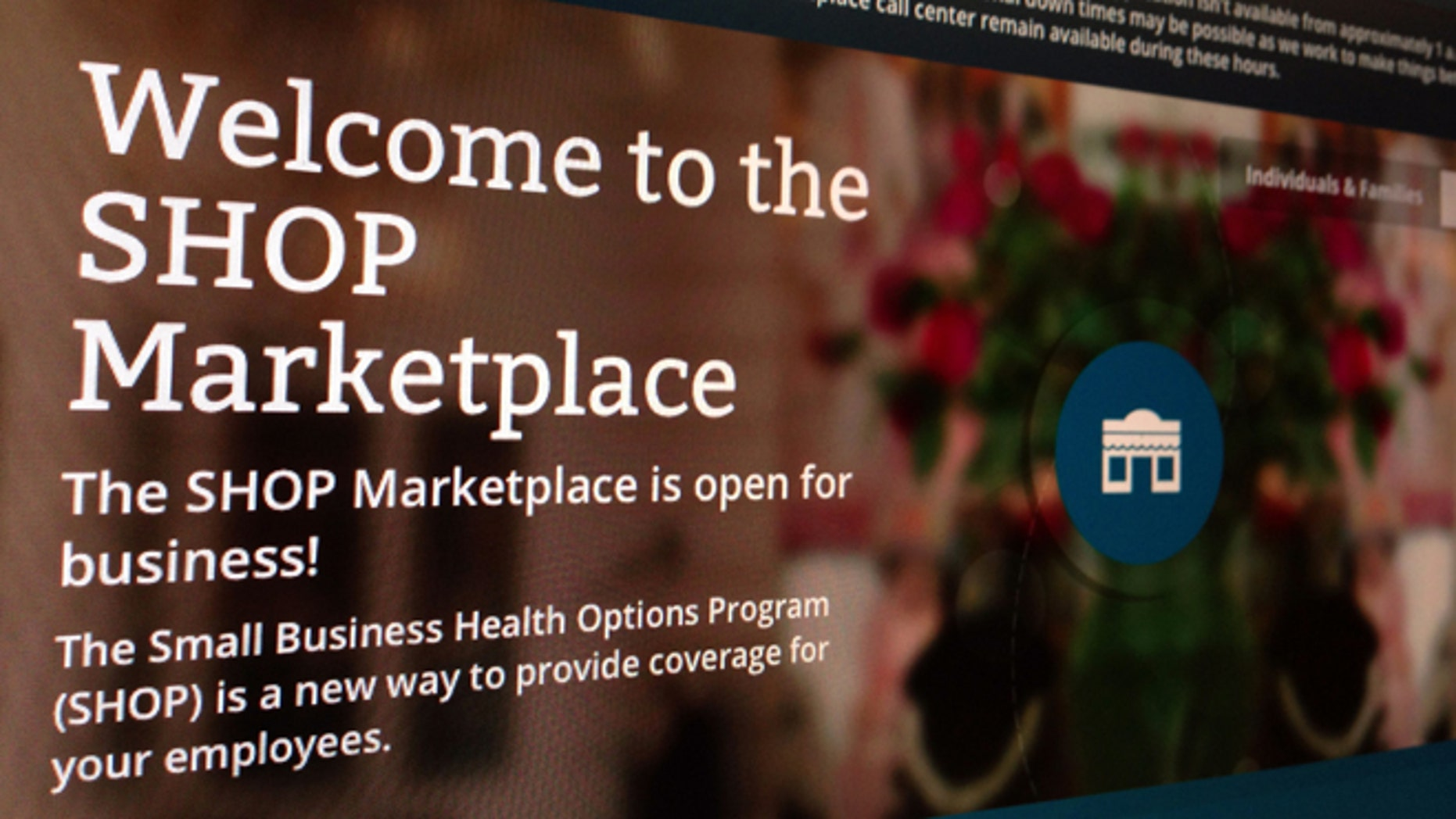 Nov. 27, 2013: This file photo of part of the HealthCare.gov website page featuring information about the SHOP Marketplace is photographed in Washington.