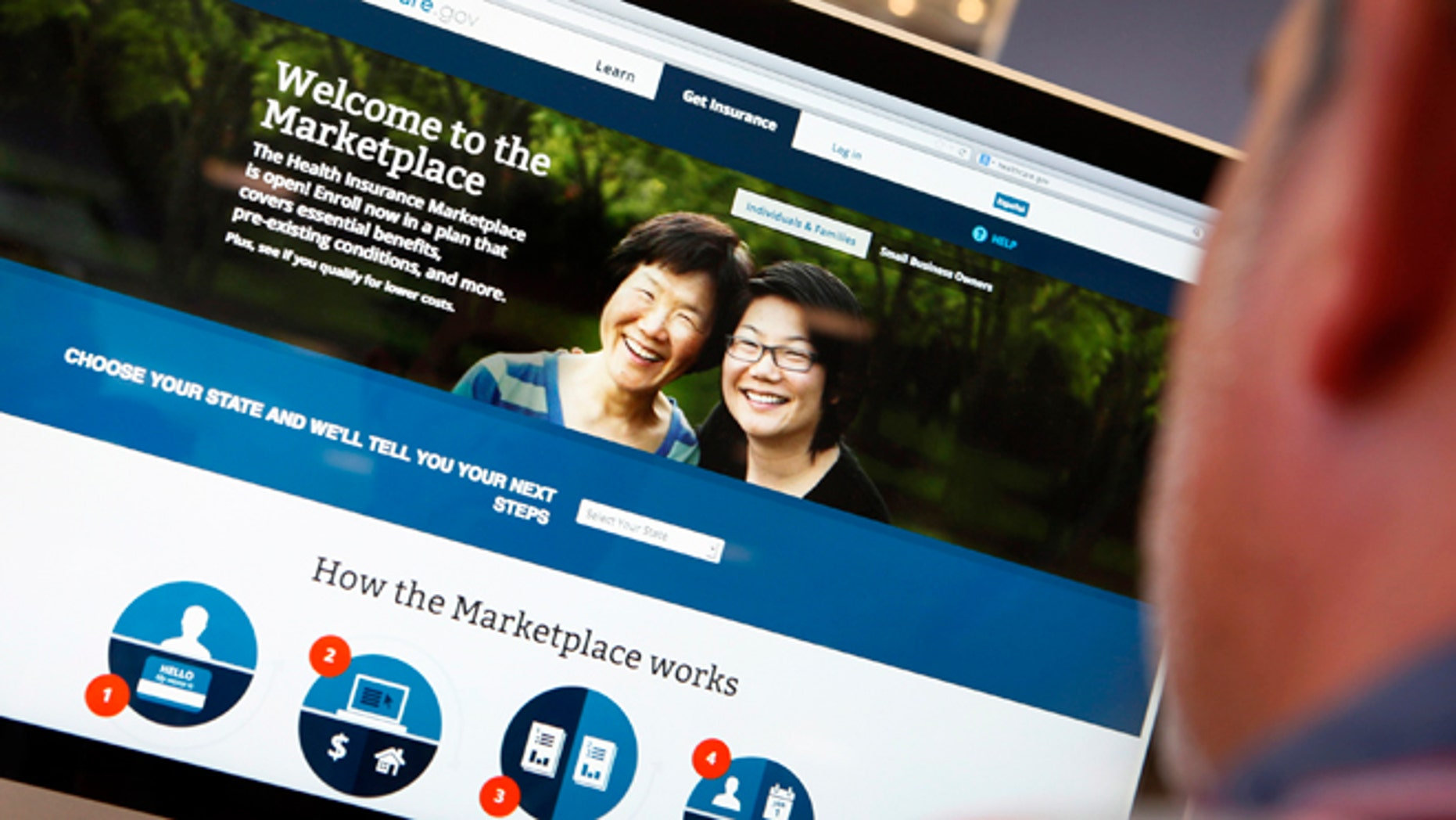 Oct. 2, 2013: A man looks over the Affordable Care Act (commonly known as Obamacare) signup page on the HealthCare.gov website in New York. (AP)
