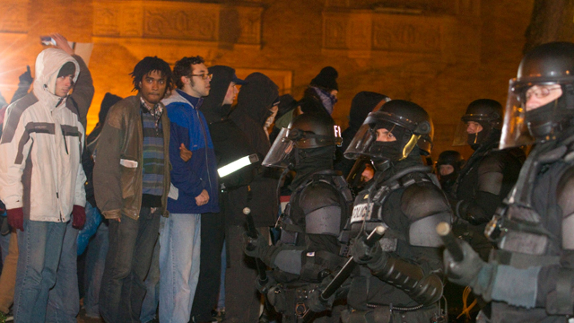 Dec. 3, 2011: Riot police move into a downtown Portland park area and arrested several anti-Wall Street protesters after they refused to vacate the park.