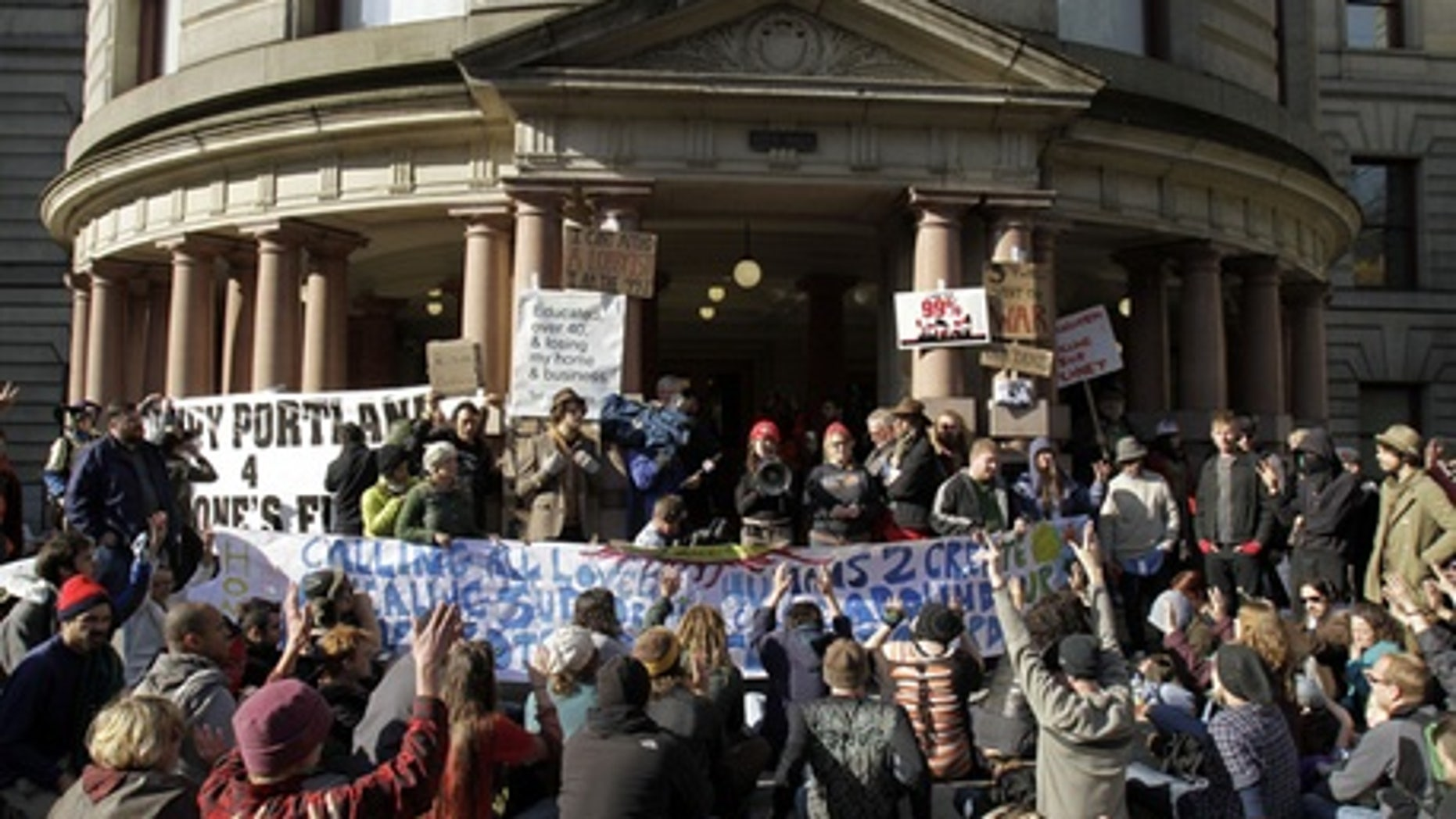 November 2011: Occupy Portland protesters gather outside City Hall.