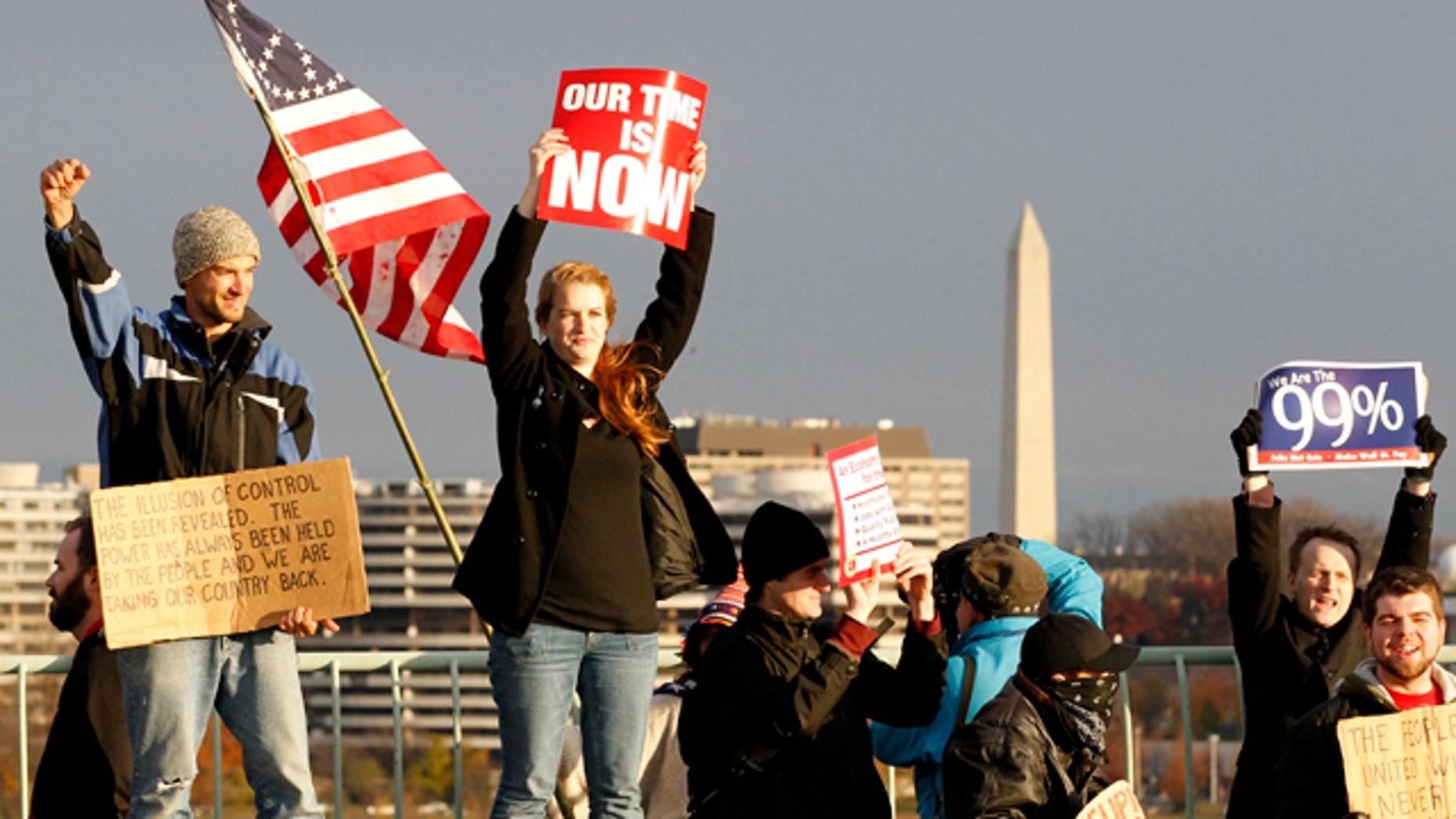Nov. 17, 2011: Demonstrators stand on the Key Bridge in Washington, D.C.