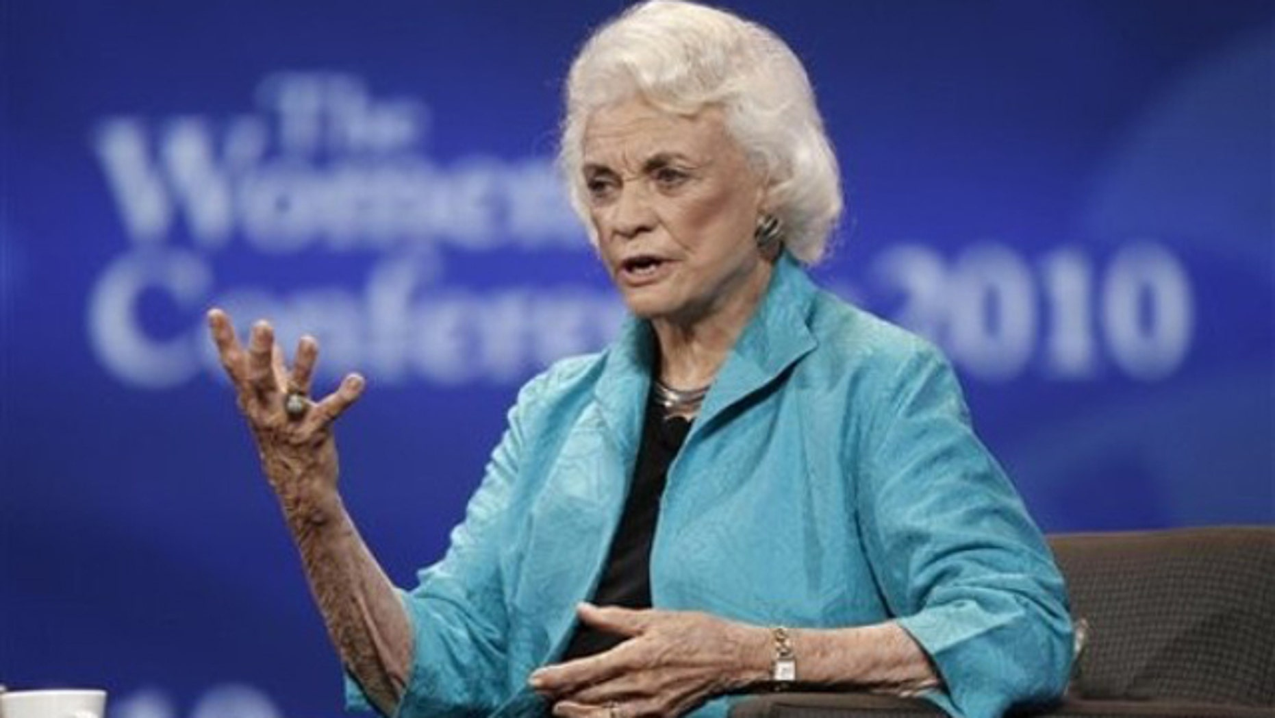Former Supreme Court Justice Sandra Day O'Connor speaks at the Women's Conference Oct. 26, 2010, in Long Beach, Calif.