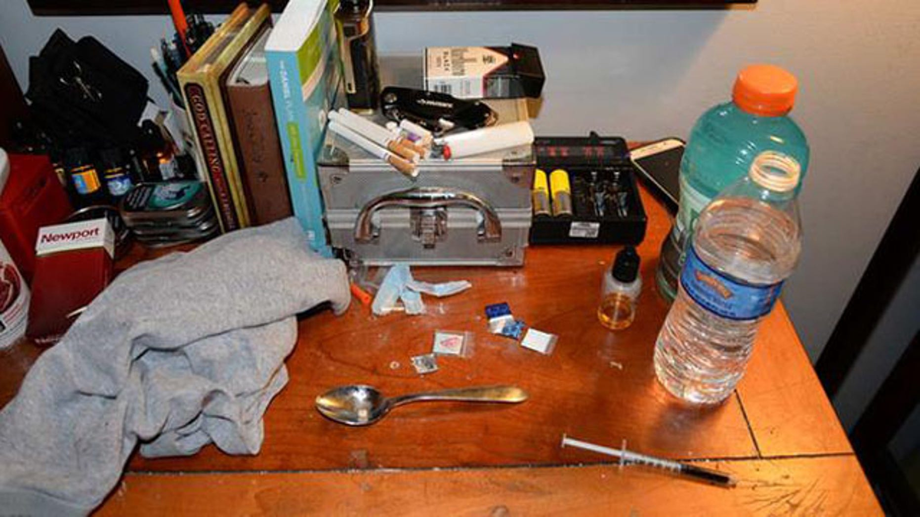 This image shows the desk of one of two drug counselors who died of an opiod overdose in West Brandywine Township, Pa.