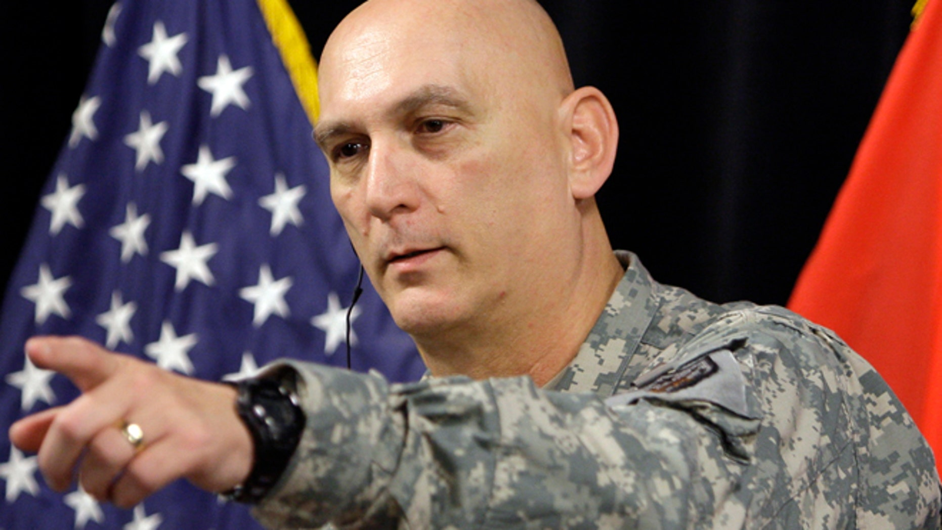 In this Jan. 1, 2010 file photo, Gen. Ray Odierno is shown at a news conference at Camp Victory in Baghdad.