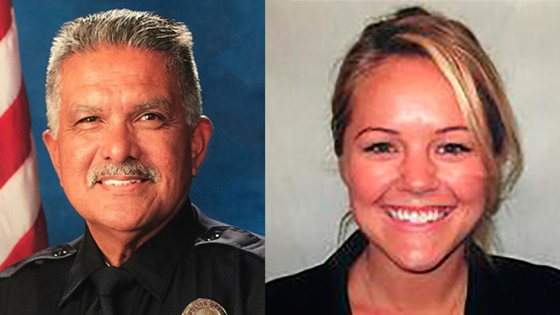 "These photo released by the Palm Springs Police Department show slain officer Jose ""Gil"" Gilbert Vega and Lesley Zerebny, 27,  who were killed in the line of duty Saturday, Oct. 8, 2016. (Palm Springs Police Department via AP)"