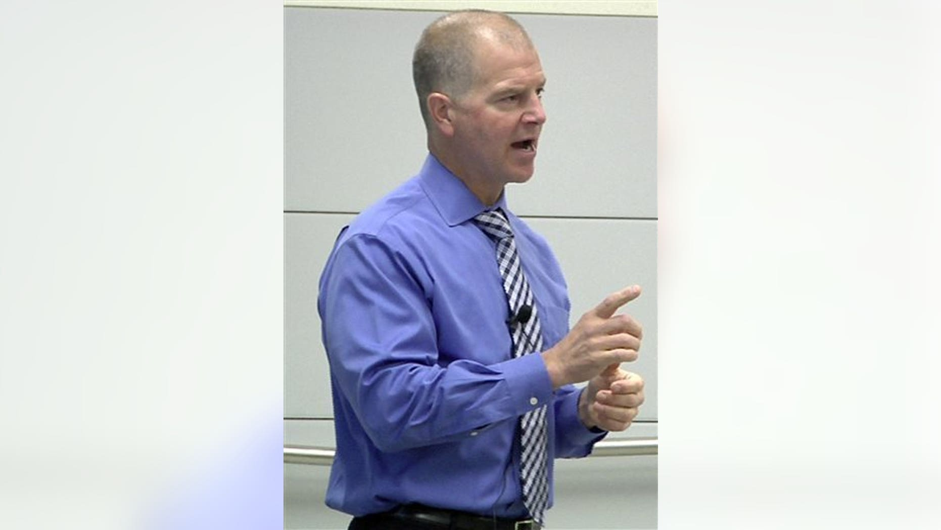 Oct. 17, 2014: In this photo taken from video, Autism safety instructor Scott Schuelke leads a training seminar for first responders at Eastern Michigan University in Ypsilanti, Mich.