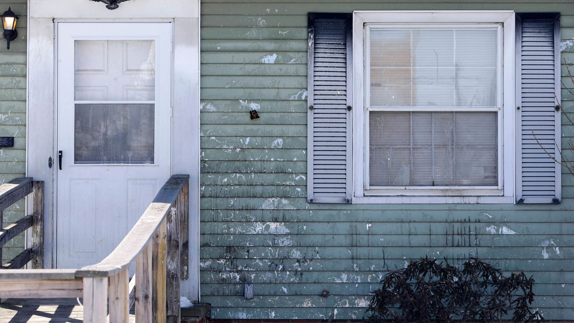 March 6, 2015: A home that has been pelted with eggs several times a week for a year is shown.