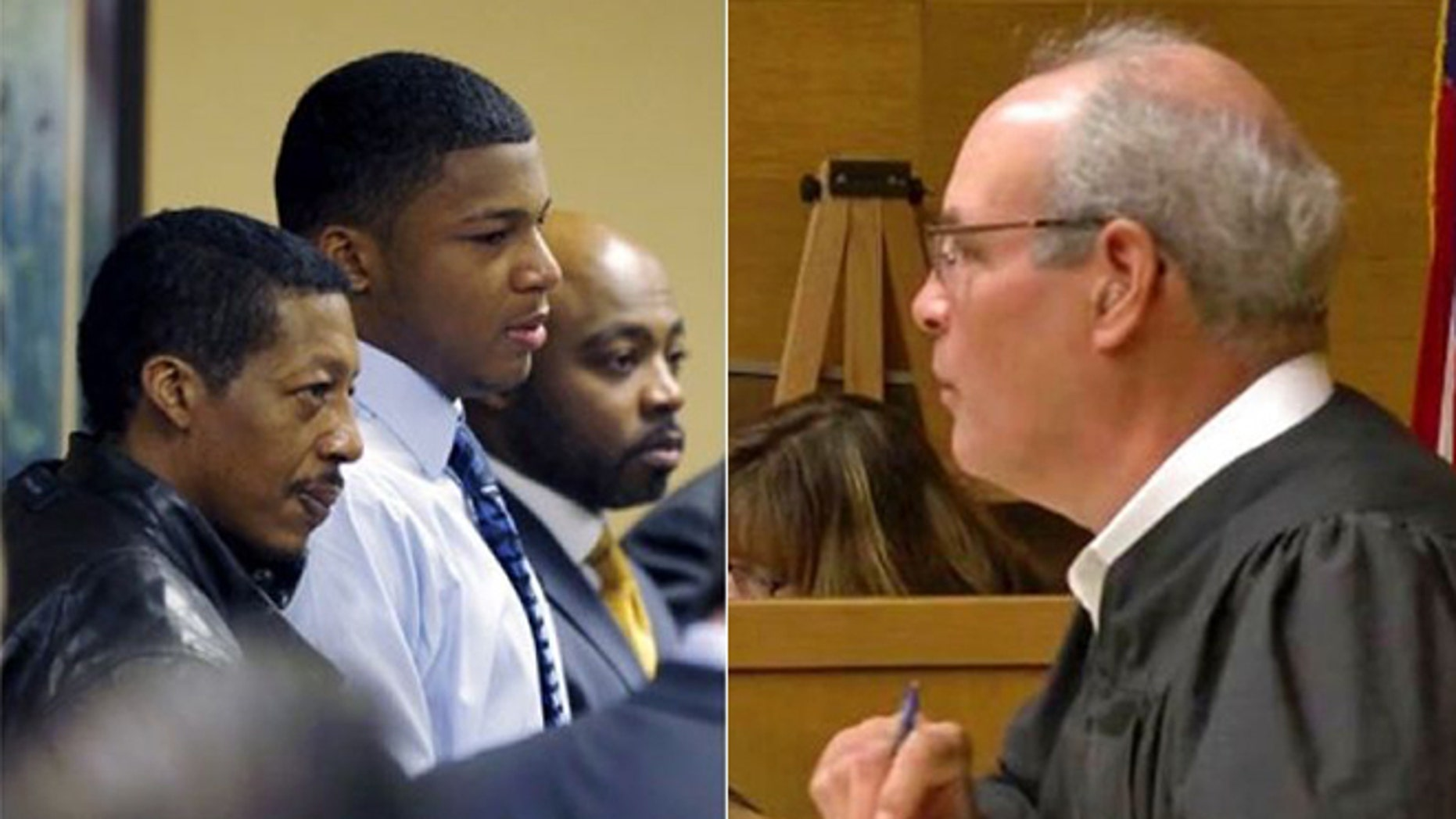 Jefferson County Judge Joseph Bruzzese Jr., right, was shot while walking toward a courthouse in Ohio Monday. The gunman was identified as Nathaniel Richmond, seen wearing black at left, with his son, Ma'lik Richmond, and attorney Walter Madison in 2013.