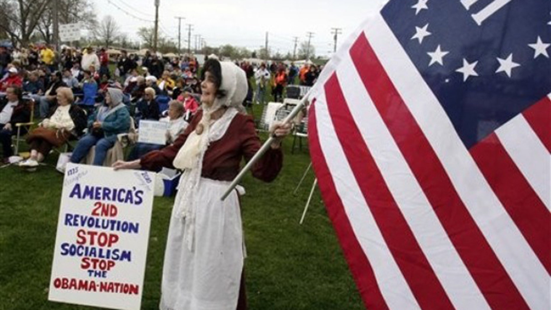 Marion Von Duyke-Murray participates in a a tea party rally at the Cuyahoga County Fairground Sunday, April 11, 2010, in Berea, Ohio. (AP)