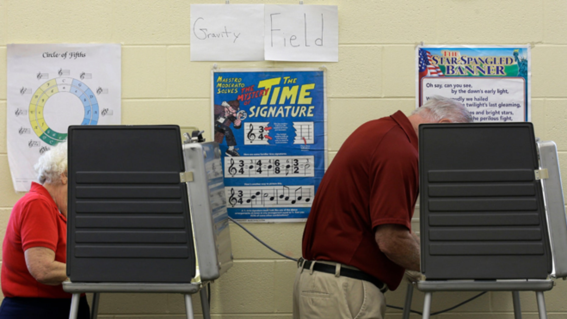 May 6, 2014: Two people vote in a music room at Sands Montessori School  in Cincinnati.