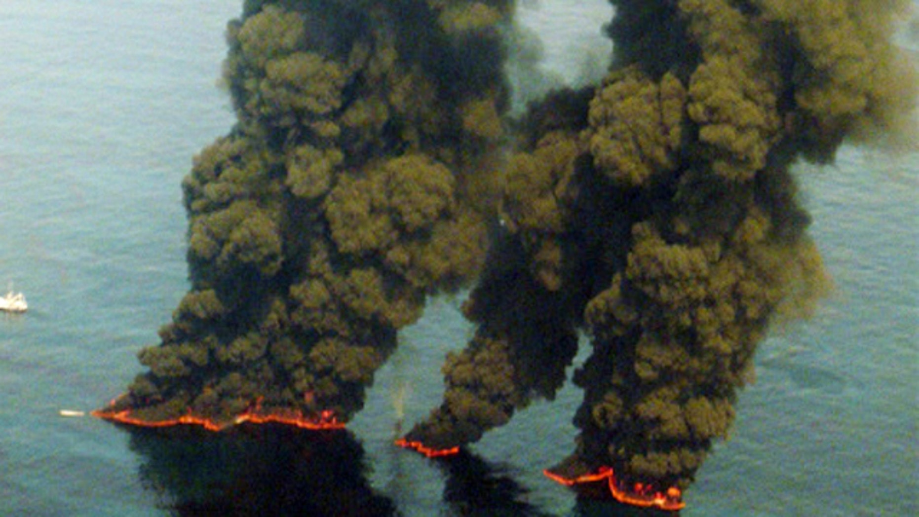 May 2010 FILE:  An aerial view of oil being burned from the Deepwater Horizon incident.