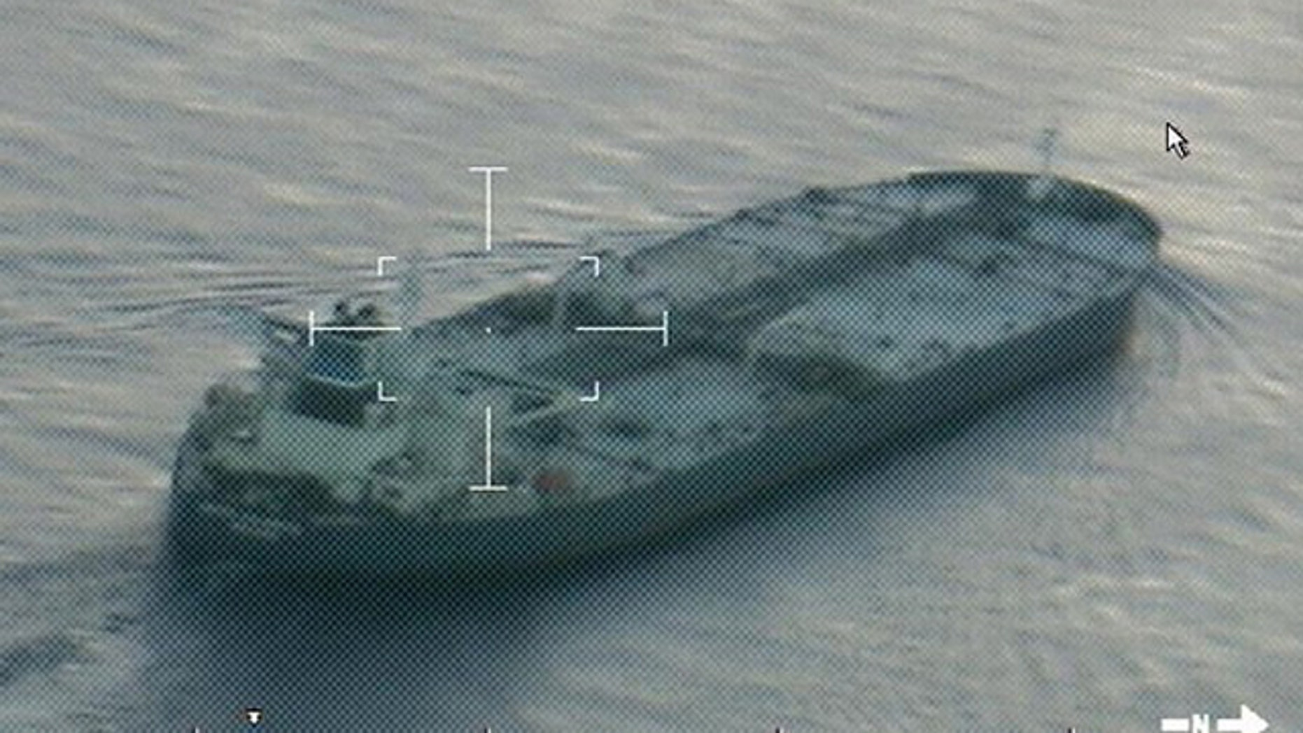 July 25, 2014: A still image from video taken by a U.S. Coast Guard aircraft shows the oil tanker United Kalavrvta approaching Galveston, Texas. (Reuters)