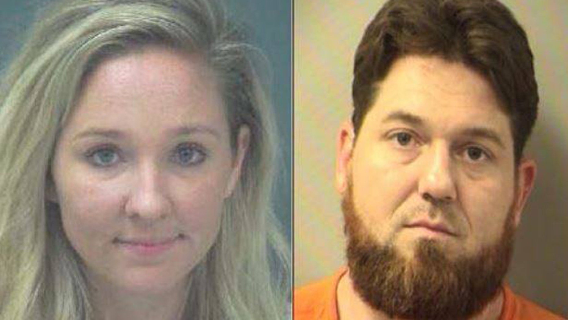 """Florida paramedics Kayla Dubois, 24, of Navarre, (left) and Christopher Wimmer, 33 of Crestview,(right) have been charged with taking """"selfies"""" with unconscious patients. (Okaloosa County Sheriff's Office)"""