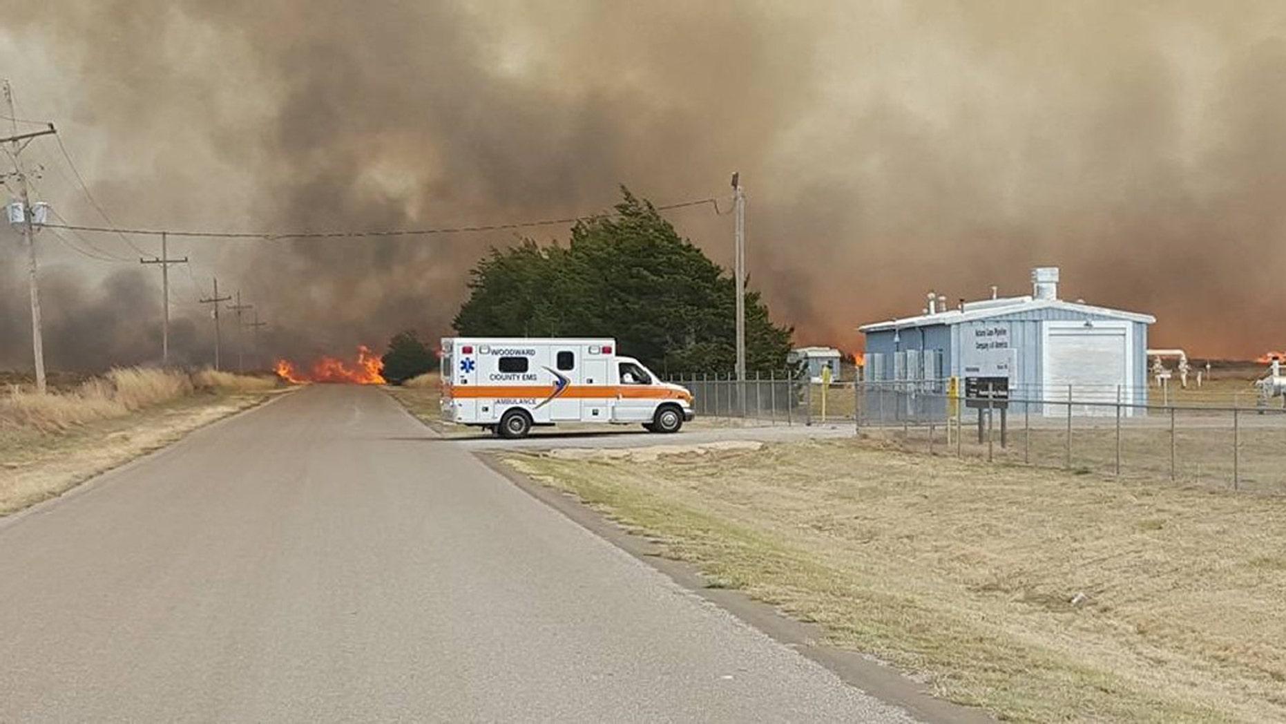 April 5, 2016: A wildfire burns near Woodward, Okla.