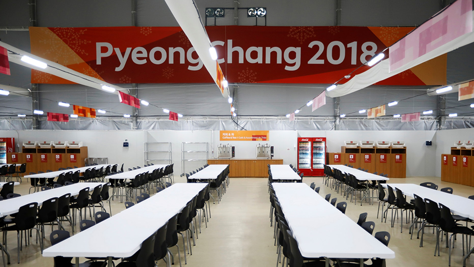A general view shows a dining hall at the Gangneung Olympic Village in Gangneung, South Korea