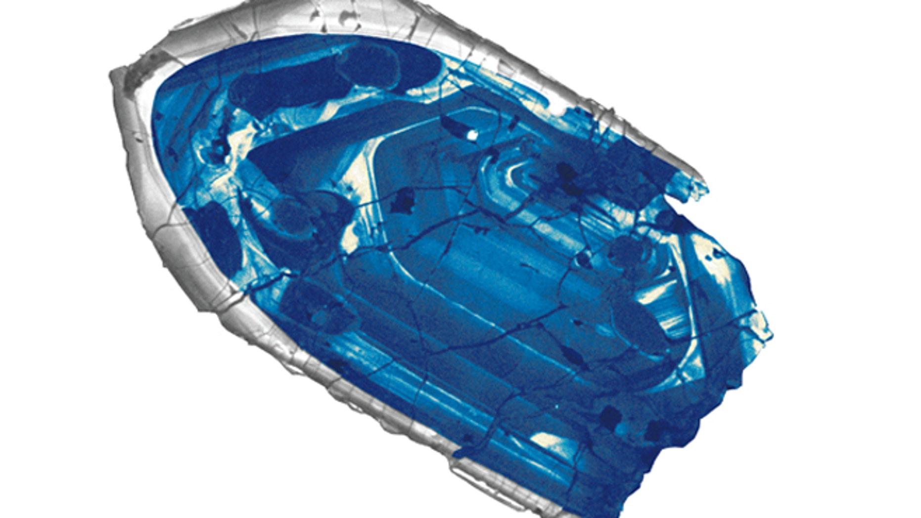 Cathodoluminescence image of a 400-µm Jack Hills zircon.