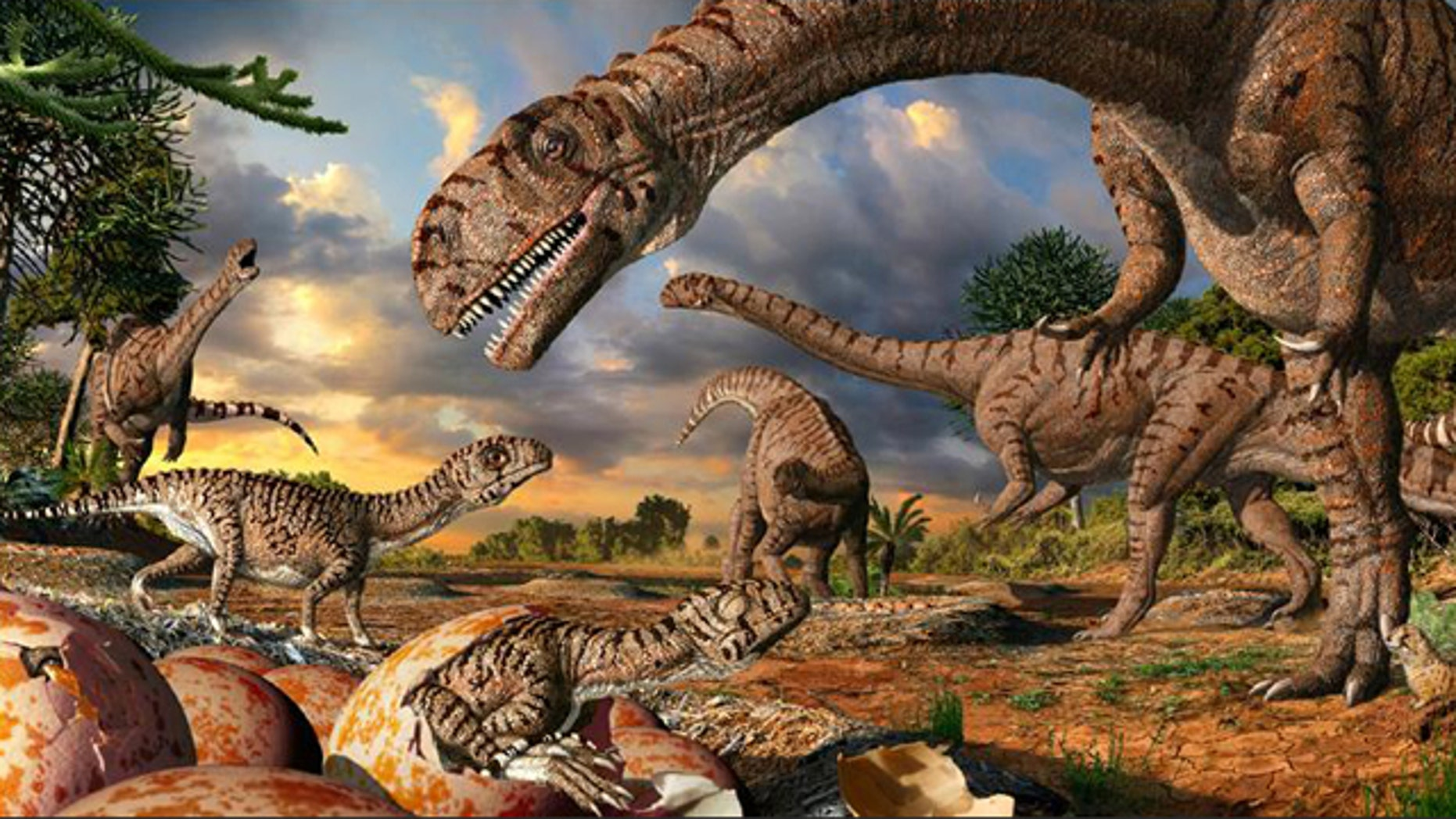 An artist's recreation of Golden Gate Highlands National Park, South Africa, where paleontologists have unearthed the oldest known dinosaur nesting site, dating to 190 million years ago.