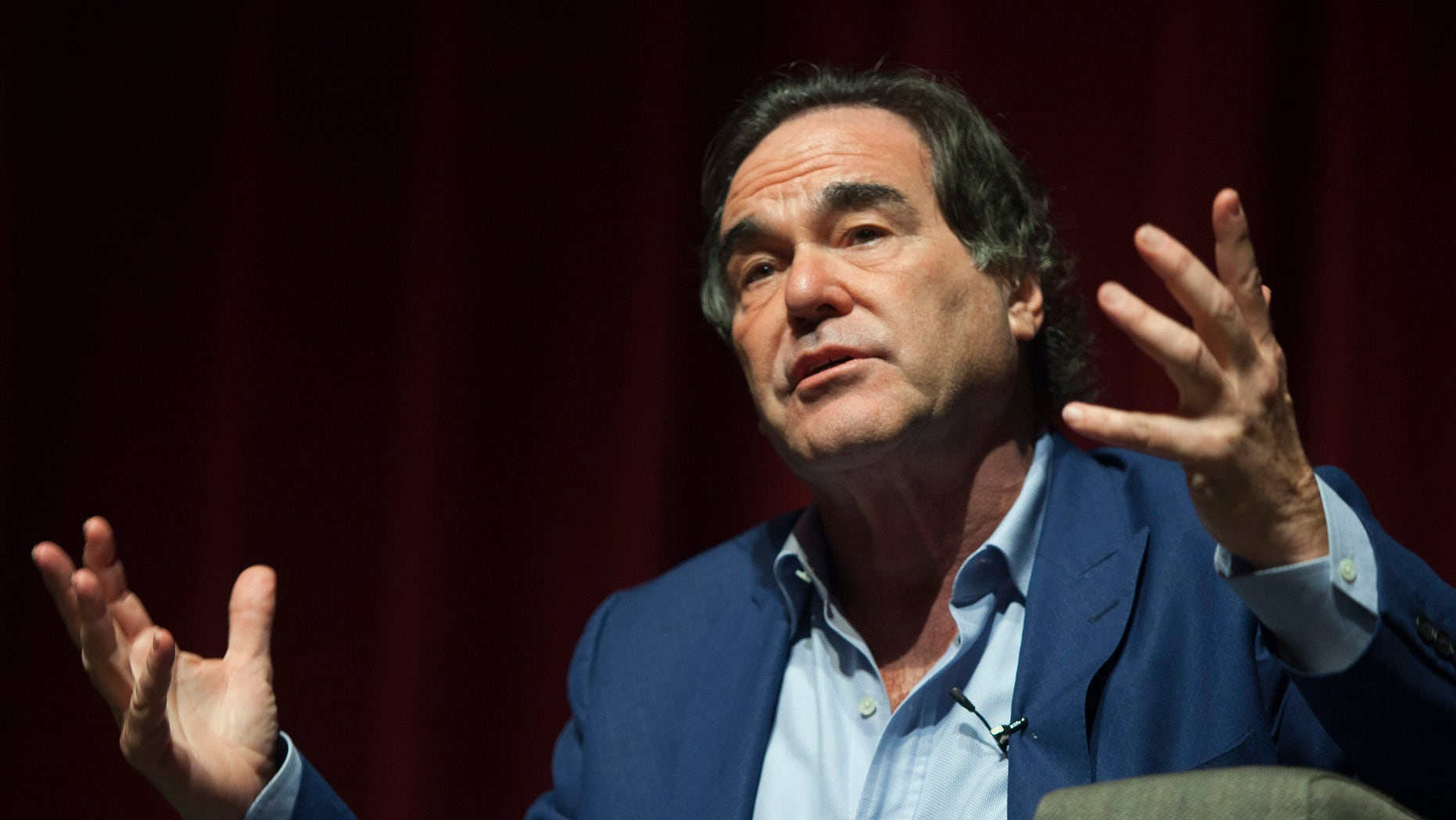 U.S. film director and screenwriter Oliver Stone speaks during a discussion with students at the University of Puerto Rico in San Juan Nov. 30, 2012.