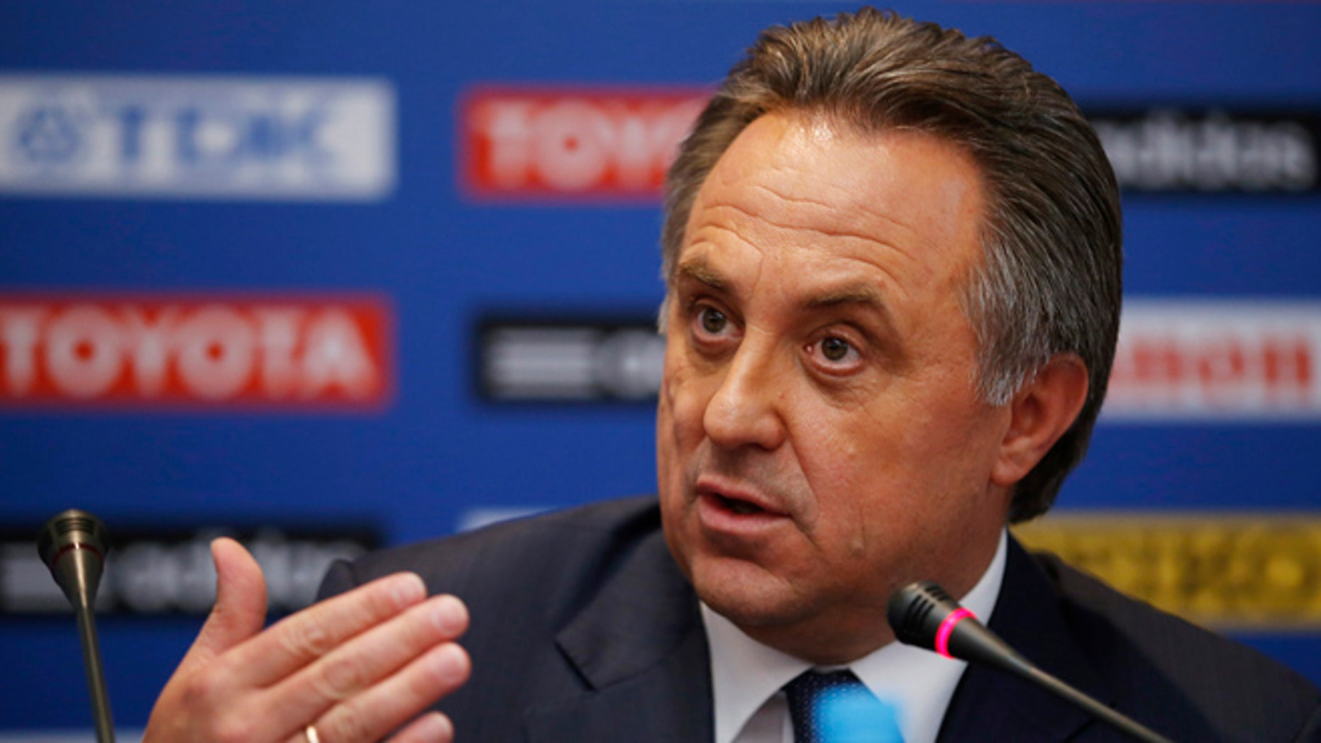 Aug. 8, 2013: In this file photo, Russian sports minister Vitaly Mutko speaks during a news conference at a hotel in Moscow ahead of the IAAF athletics World Championships.