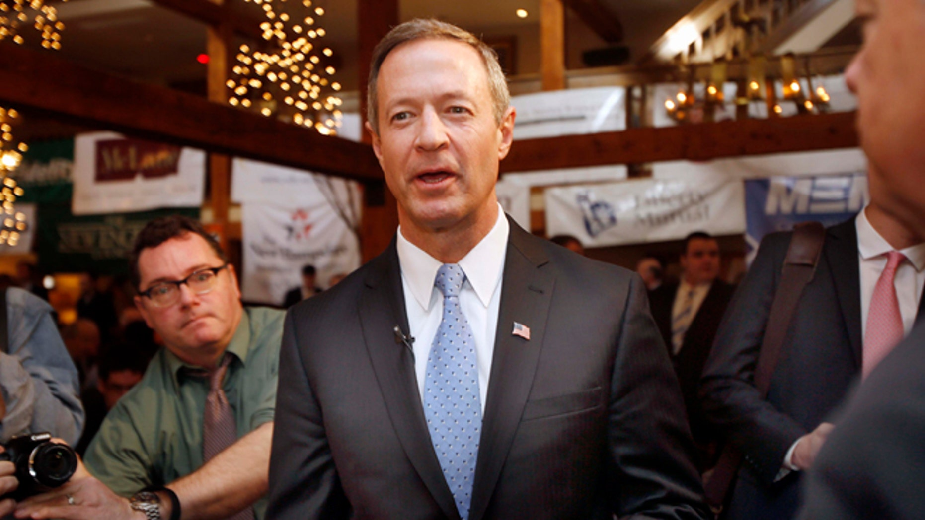 March 31, 2015: Former Maryland Gov. Martin O'Malley arrives for a Politics and Eggs breakfast with area business leaders in Bedford, N.H.