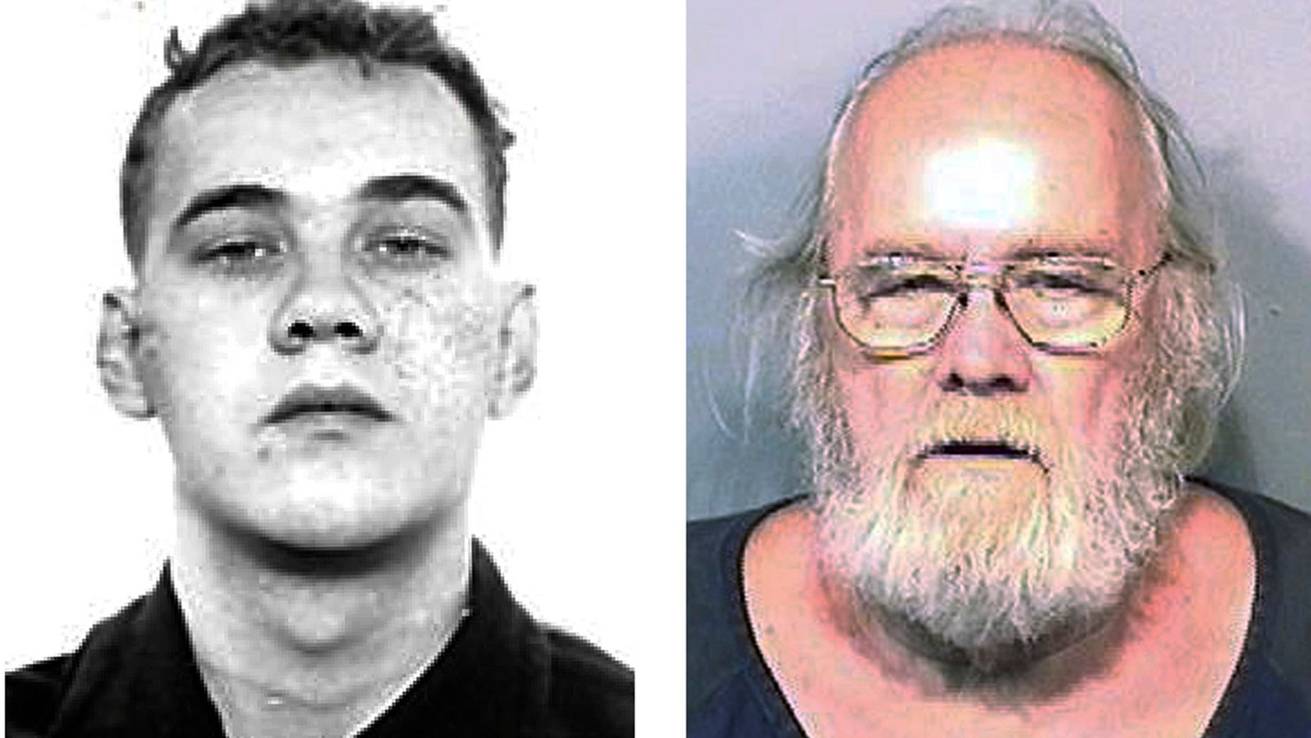 FILE - This pair of photos shows Frank Freshwaters, left, in a Feb. 26, 1959, Ohio State Reformatory photo released by the U.S. Marshals Service, and right, in a May 4, 2015, booking photo released by the Brevard County Sheriff's Office in Florida. (Ohio State Reformatory and Brevard County Sheriff's Office via AP, File)