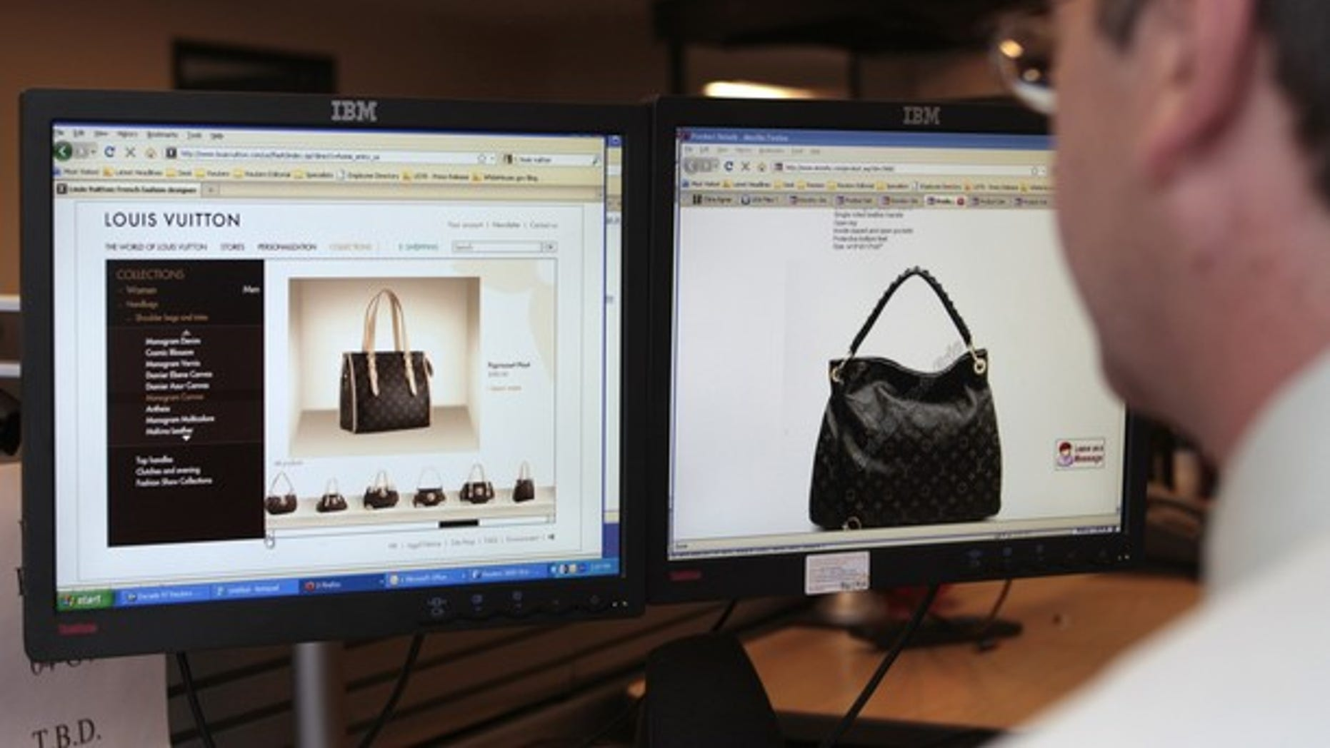 Reuters journalist Doug Palmer purchases a fake LVMH handbag from a China-based online website, from the Reuters office in Washington, September 10, 2010. (Reuters)
