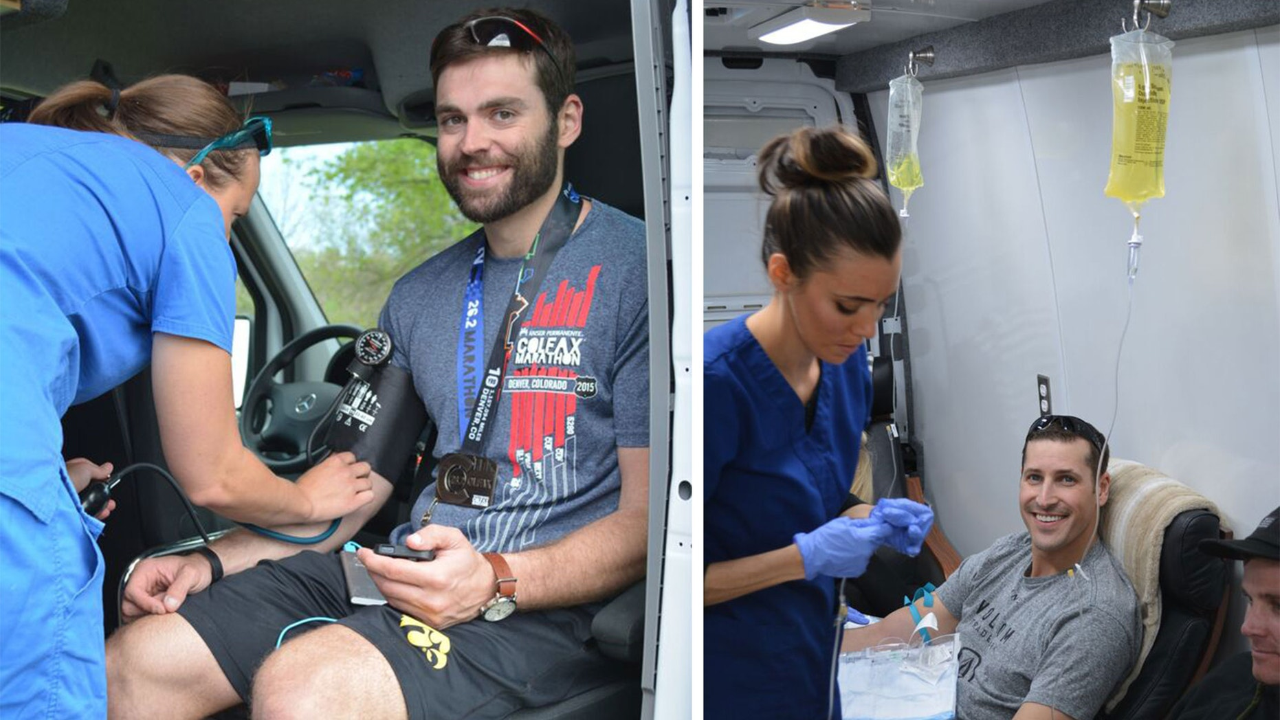 A runner gets prepped for an IV after the Colfax Half Marathon in the Onus iV Hydration mobile unit; a runner receives an infusion. (Steven Harp/Runner's World)