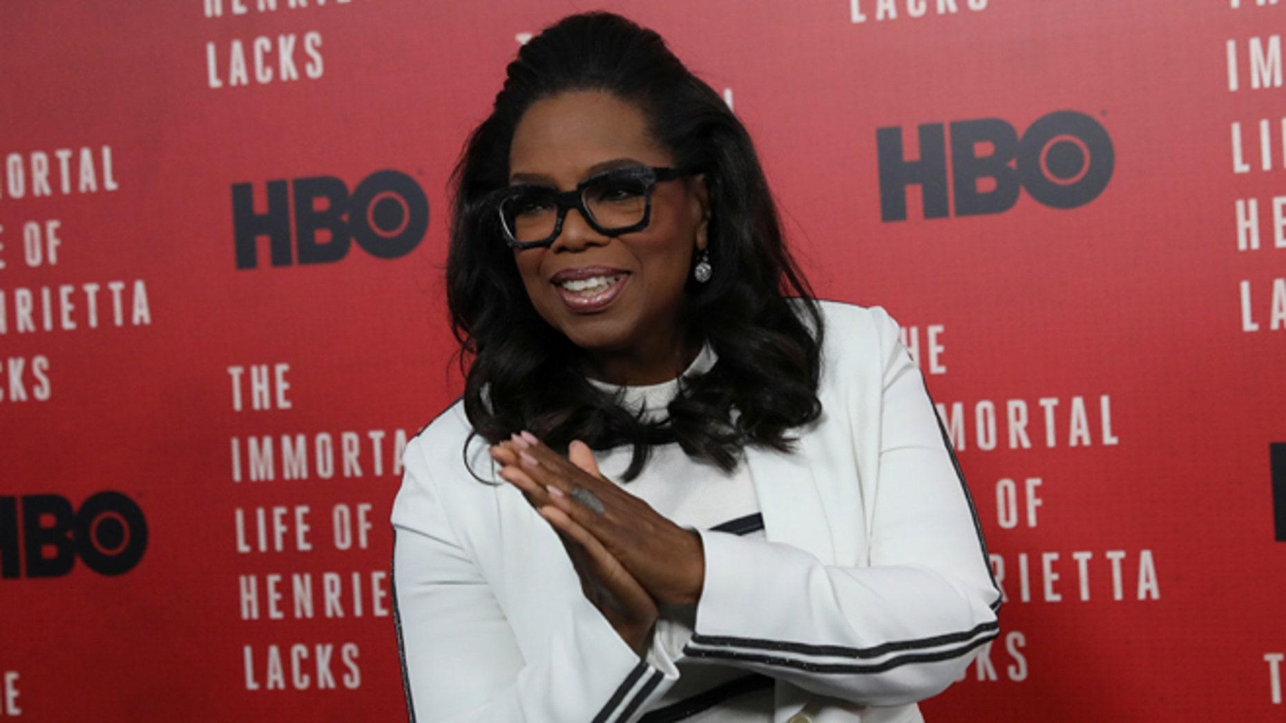 "Oprah Winfrey  smiles at the premiere of ""The Immortal Life of Henrietta Lacks"" in New York, U.S. April 18, 2017. REUTERS/Shannon Stapleton - RTS12UZU"