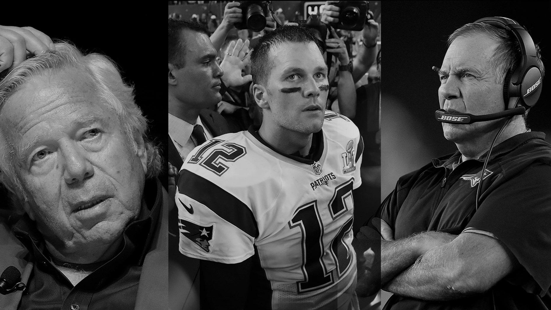 New England Patriots owner Robert Kraft, left; quarterback Tom Brady, center; and head coach Bill Belichick.