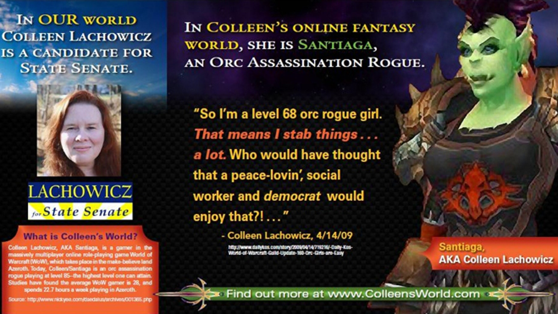 The Maine GOP takes issue with how Democratic candidate Colleen Lachowicz spends her spare time: online, as a level-85 orc in the videogame World of Warcraft.