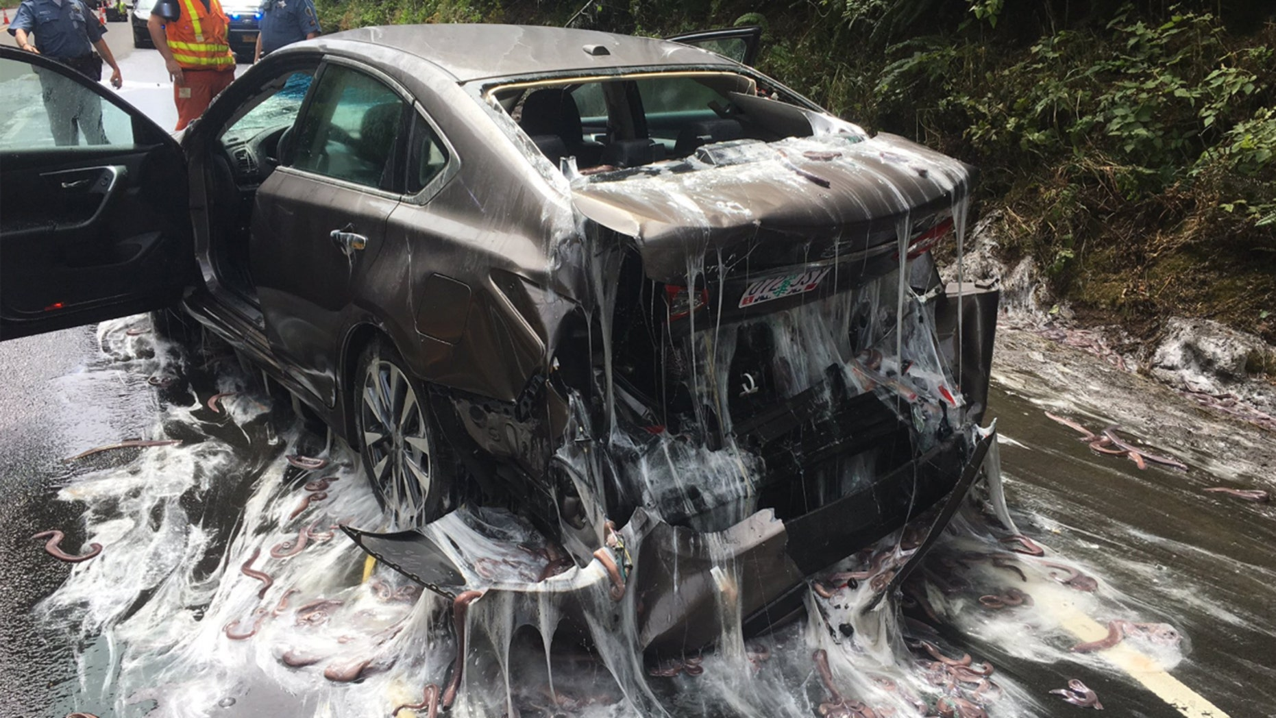 A truck made a slippery mess on an Oregon highway.