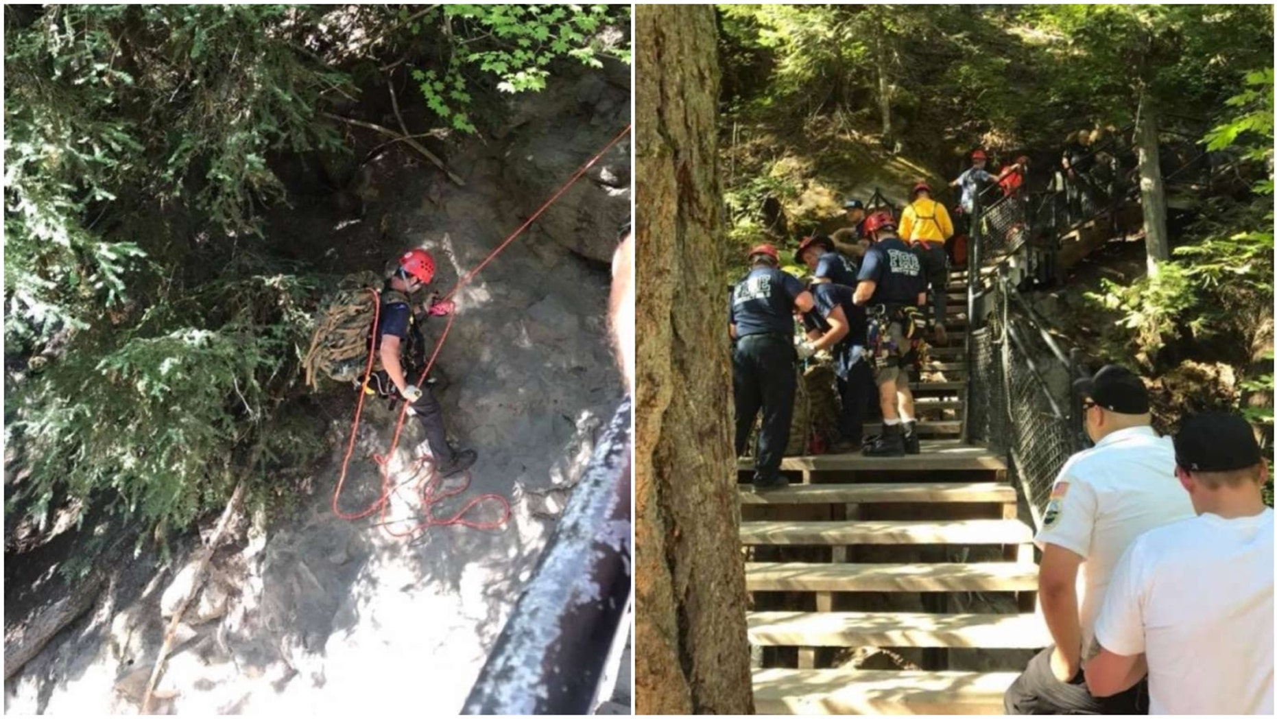 Emergency crews search for a UC Berkeley law student Brian Lewinstein, 23, who slipped and fell off cliff at Toketee Falls.