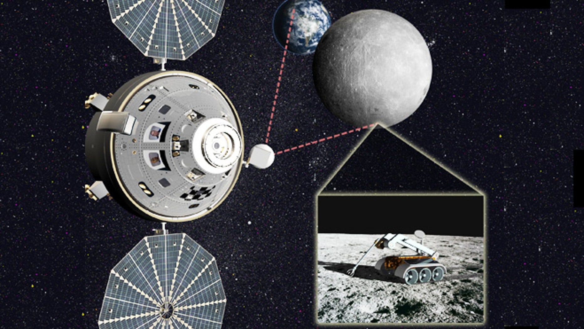 Artist's concept of astronauts in an Orion capsule helping direct robotic teleoperations on the moon's farside.