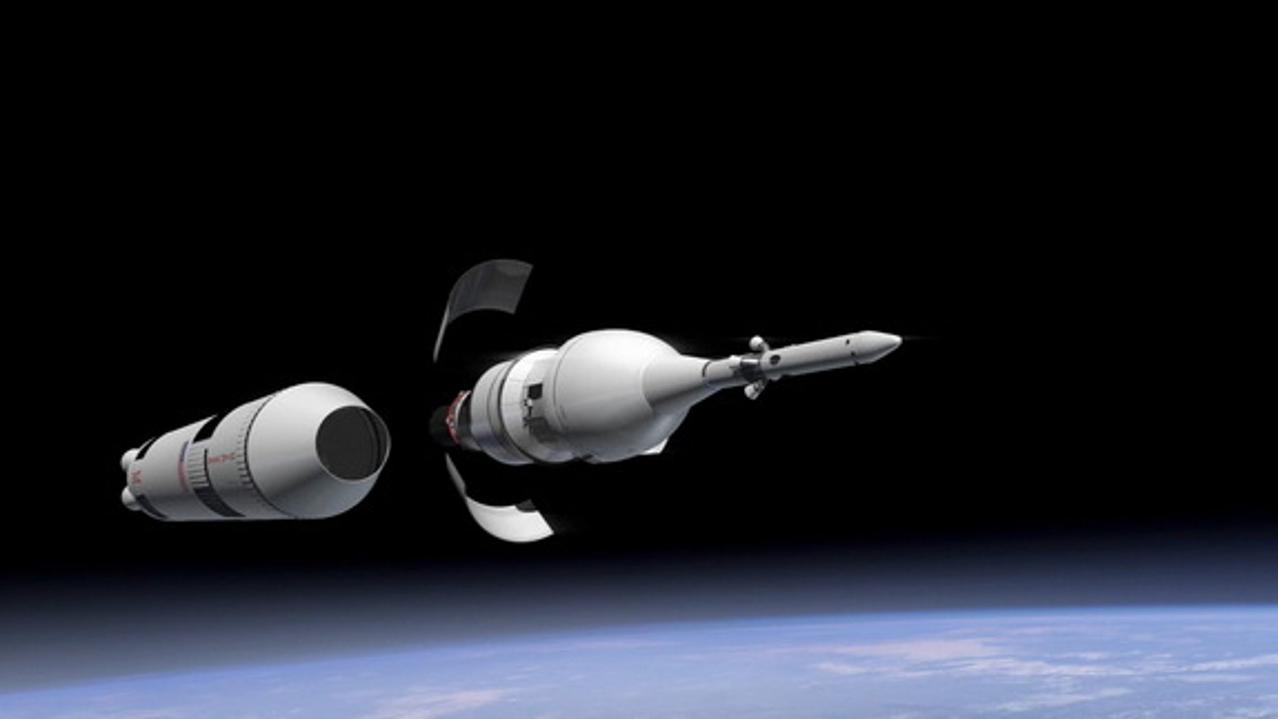 An artist's illustration of a portion of Orion's first test flight just after launch.
