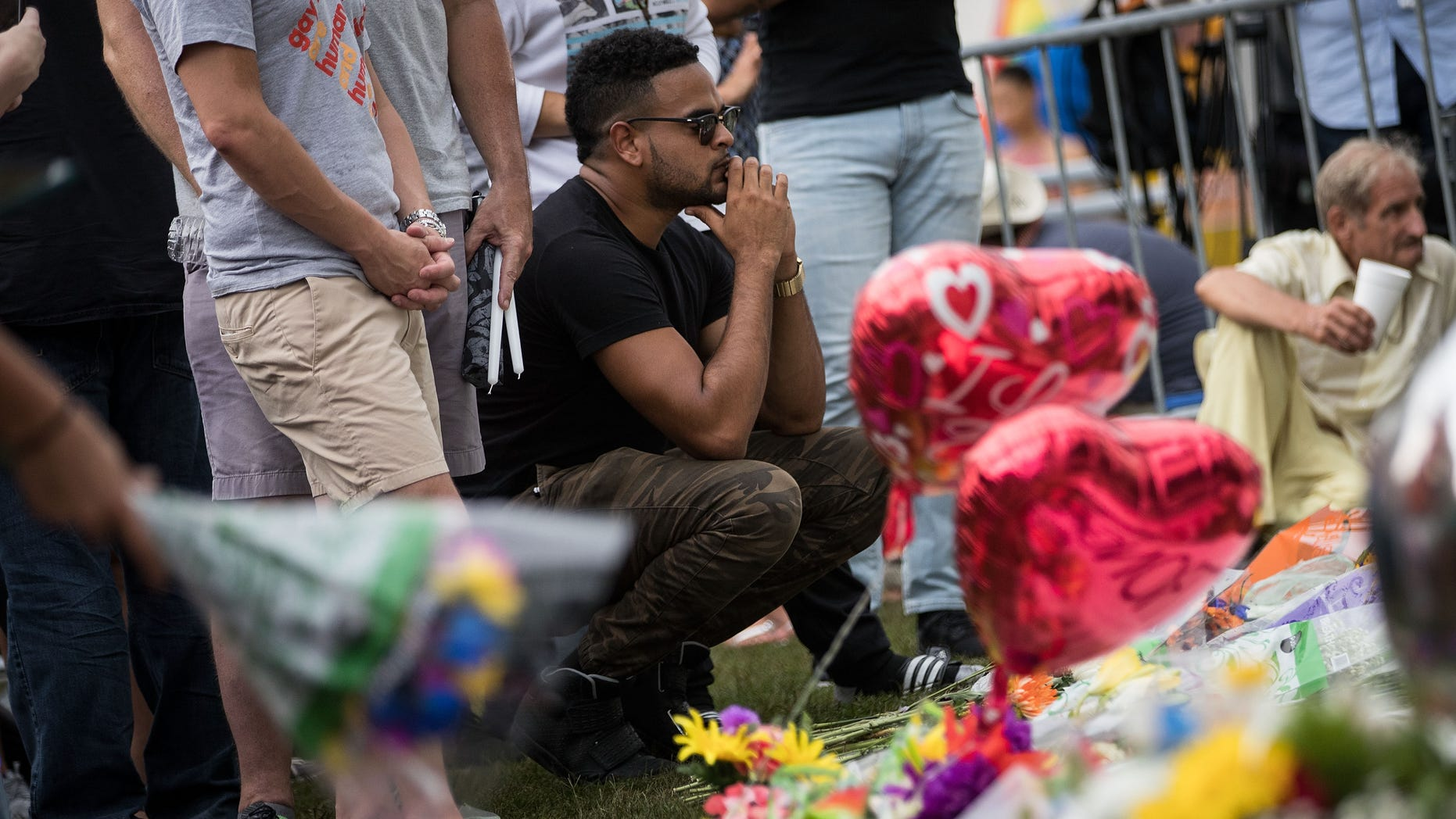 Makeshift memorial for the victims of the Pulse Nightclub shootings in Orlando, Florida.
